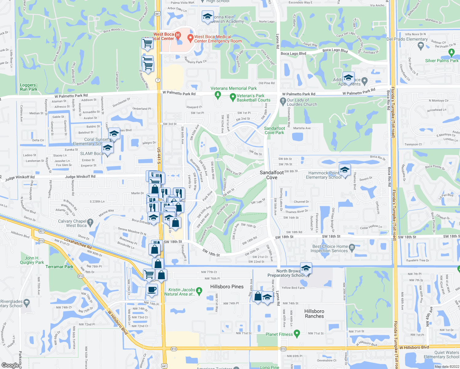 map of restaurants, bars, coffee shops, grocery stores, and more near 9355 Southwest 8th Street in Boca Raton