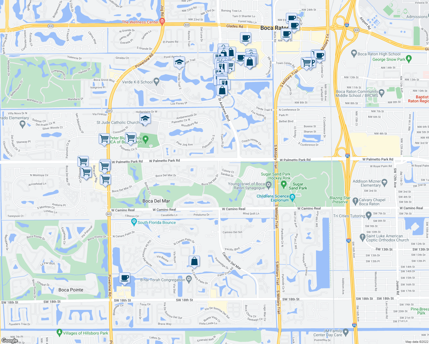 map of restaurants bars coffee shops grocery stores and more near .  boca colony drive boca raton fl  walk score
