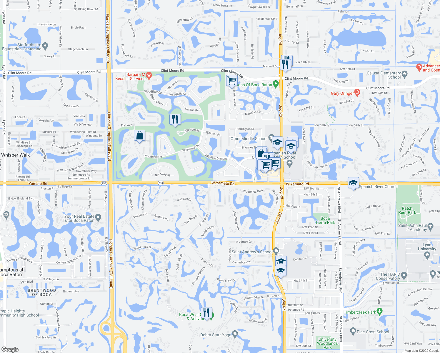map of restaurants, bars, coffee shops, grocery stores, and more near 3412 Northwest 51st Place in Boca Raton