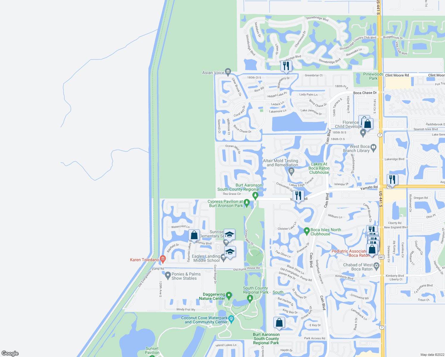 map of restaurants, bars, coffee shops, grocery stores, and more near 11308 Sea Grass Cir in Boca Raton