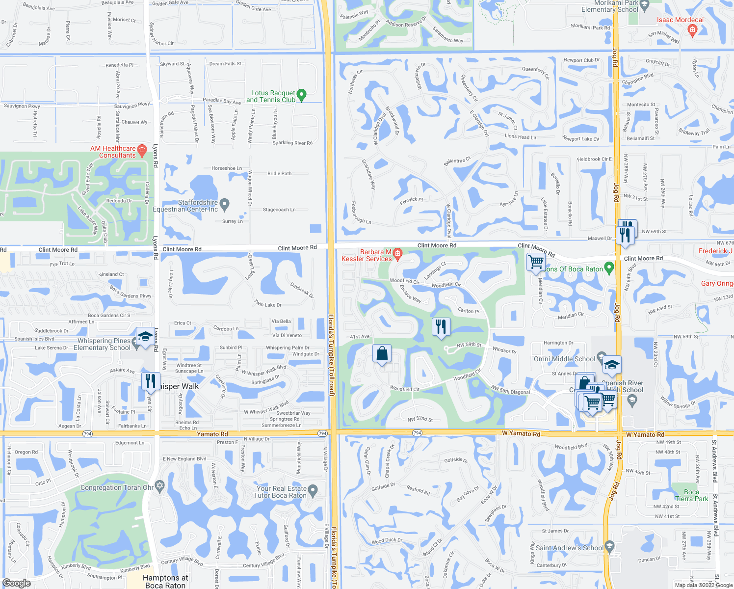 map of restaurants, bars, coffee shops, grocery stores, and more near 6398 Somerset Circle in Boca Raton