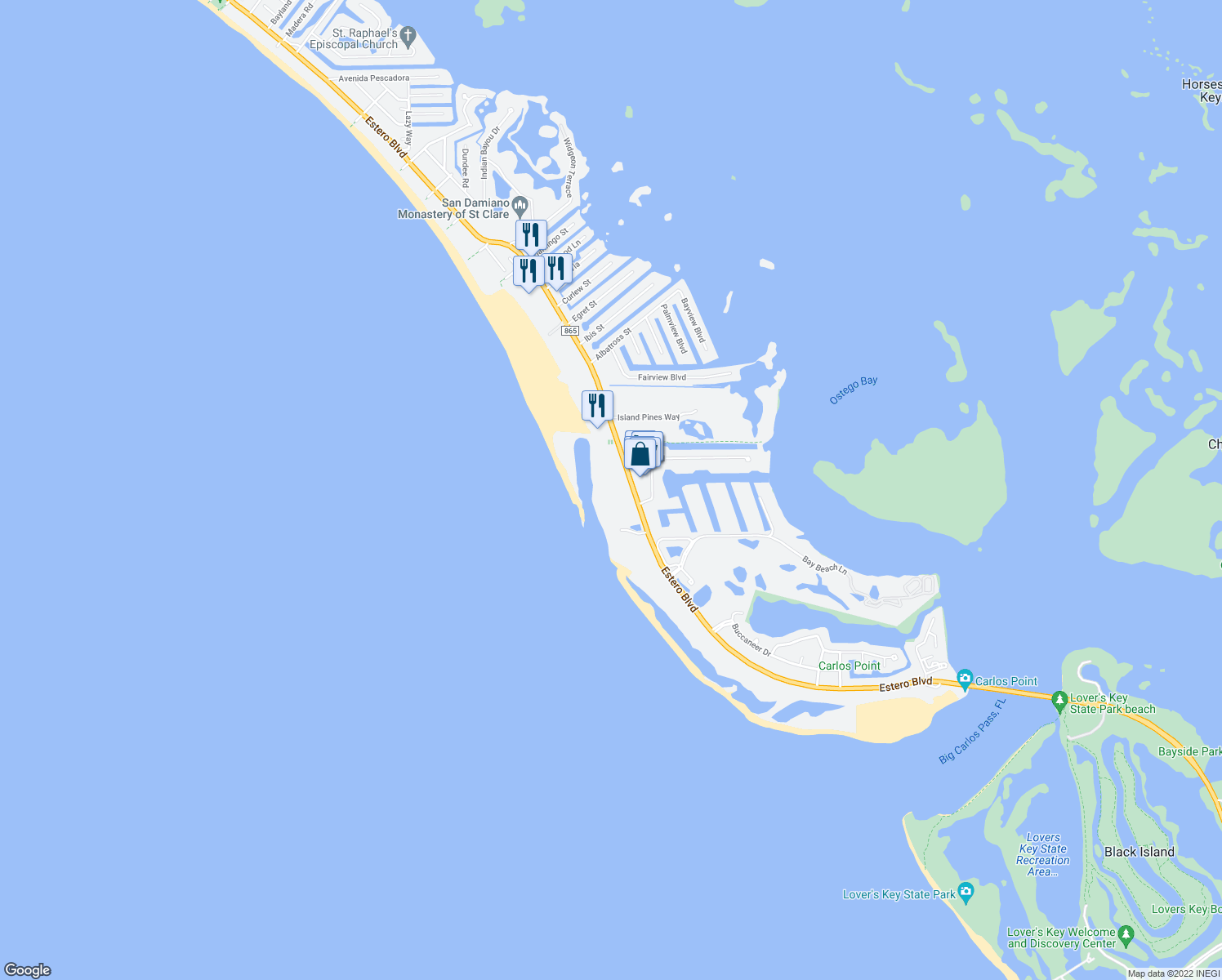 map of restaurants, bars, coffee shops, grocery stores, and more near 7148 Estero Boulevard in Fort Myers Beach