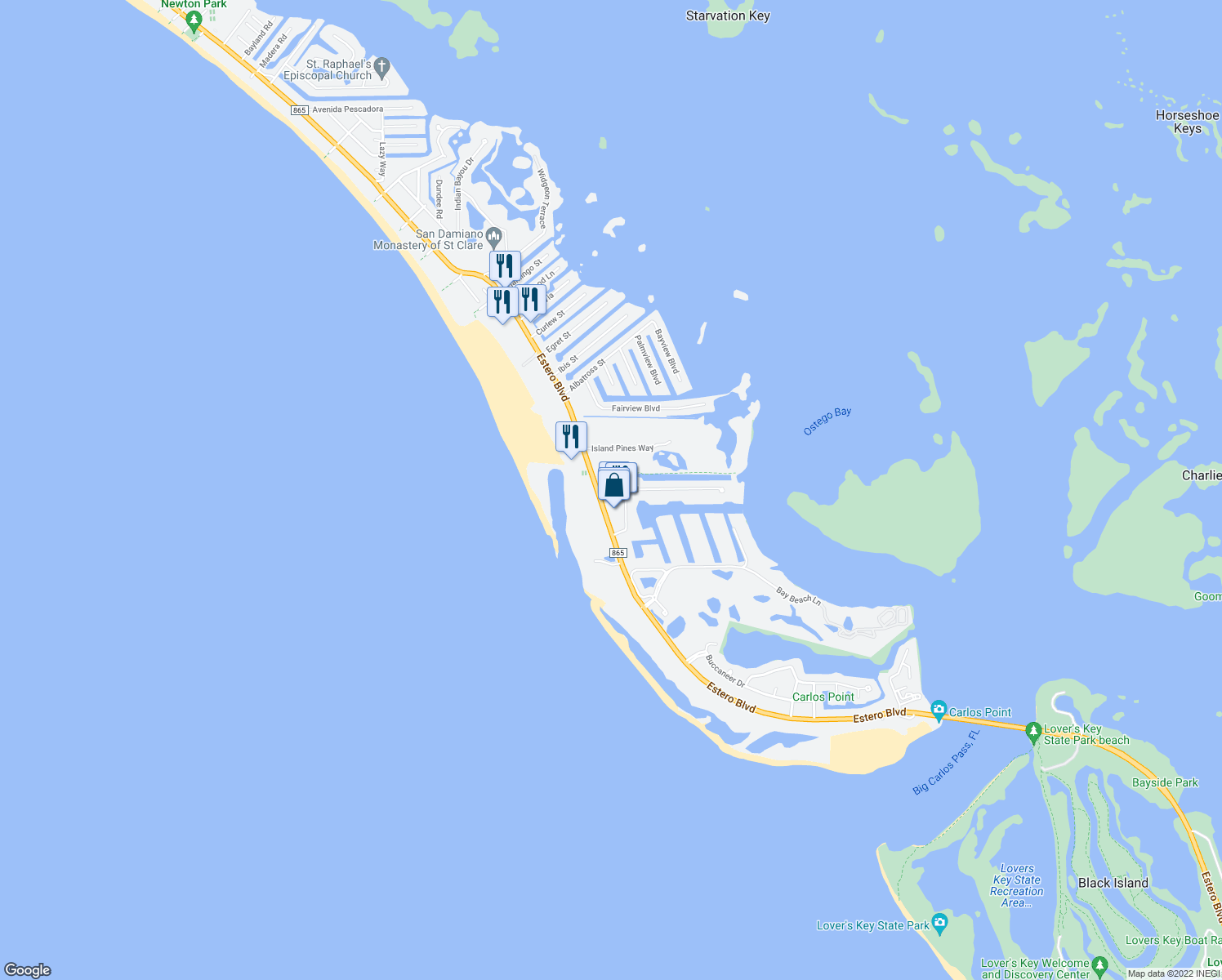 map of restaurants, bars, coffee shops, grocery stores, and more near 400 Lenell Road in Fort Myers Beach