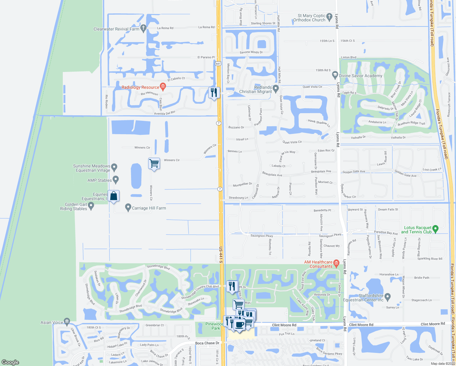 map of restaurants, bars, coffee shops, grocery stores, and more near Strasbourg Lane in Delray Beach