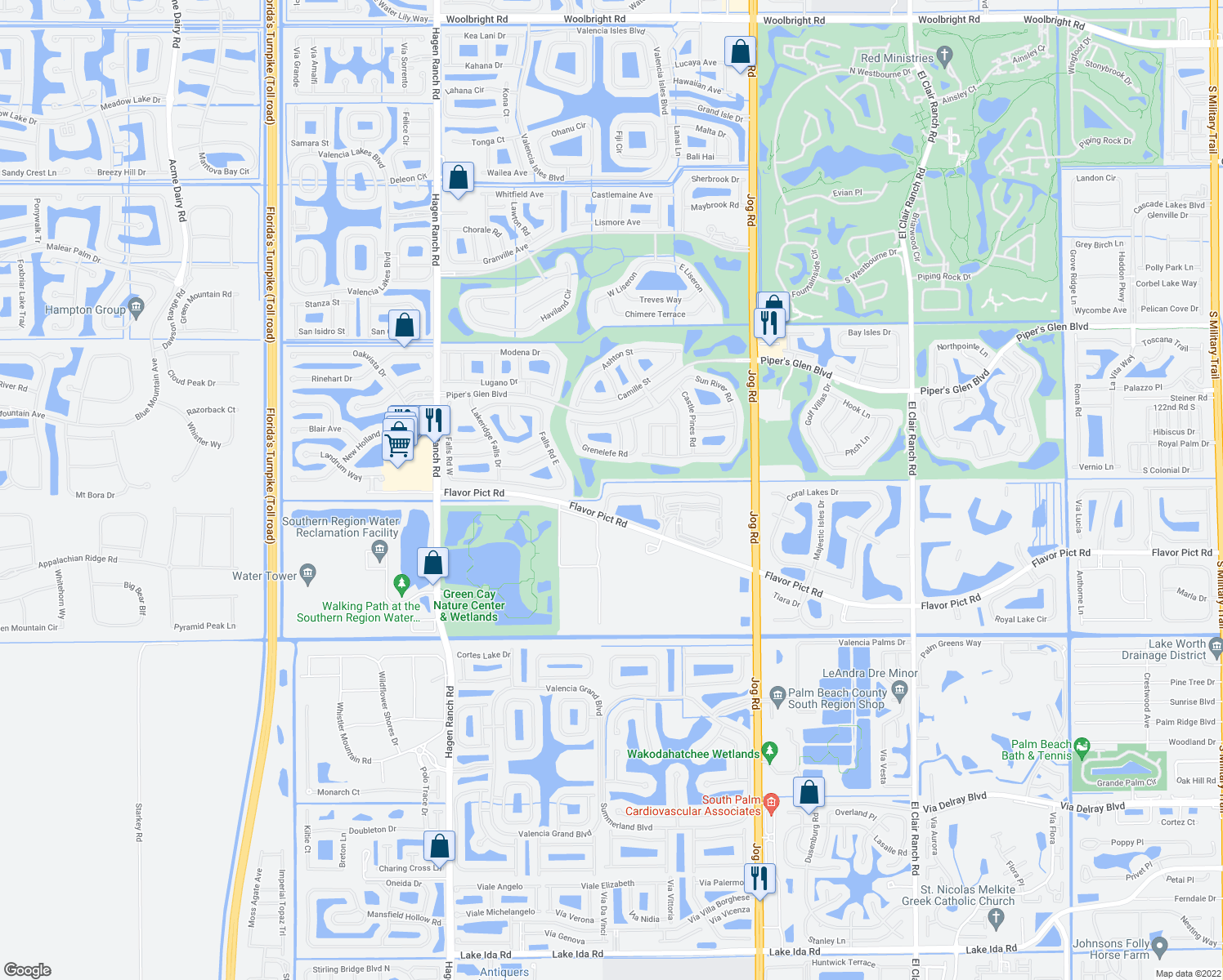 map of restaurants, bars, coffee shops, grocery stores, and more near 6737 Old Farm Trail in Boynton Beach