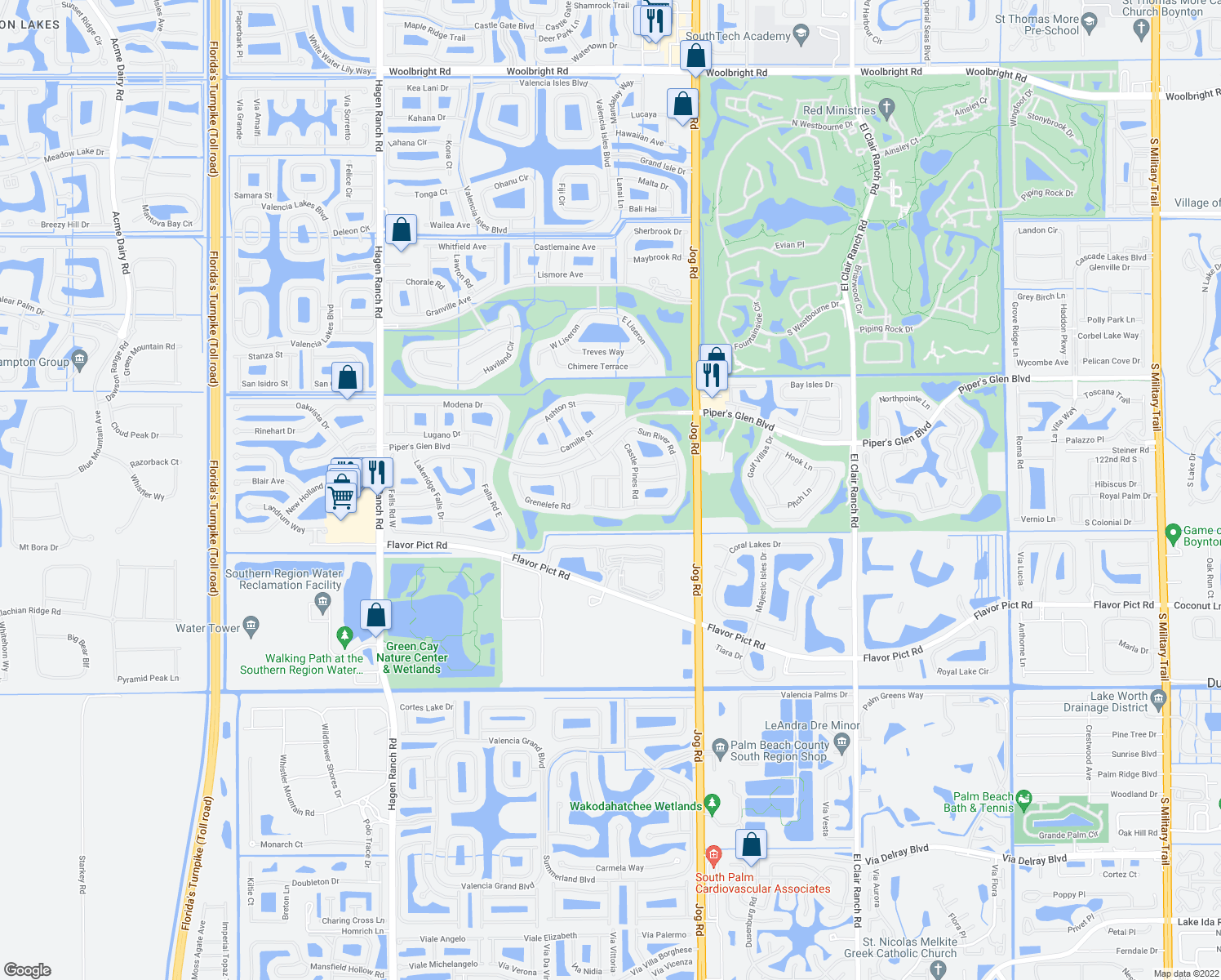 map of restaurants, bars, coffee shops, grocery stores, and more near 12242 Prairie Dunes Road in Boynton Beach