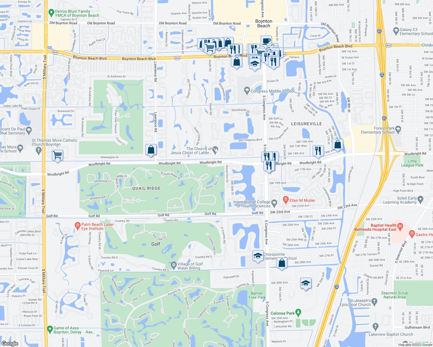map of restaurants, bars, coffee shops, grocery stores, and more near 3520 Royal Tern Lane in Boynton Beach