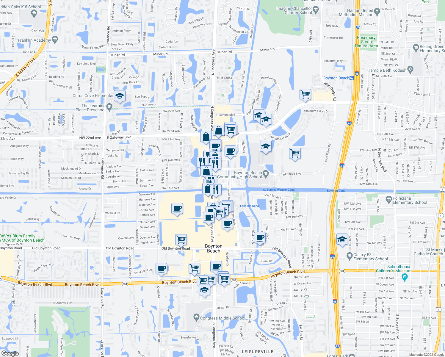 map of restaurants, bars, coffee shops, grocery stores, and more near 4 Renaissance Way in Boynton Beach