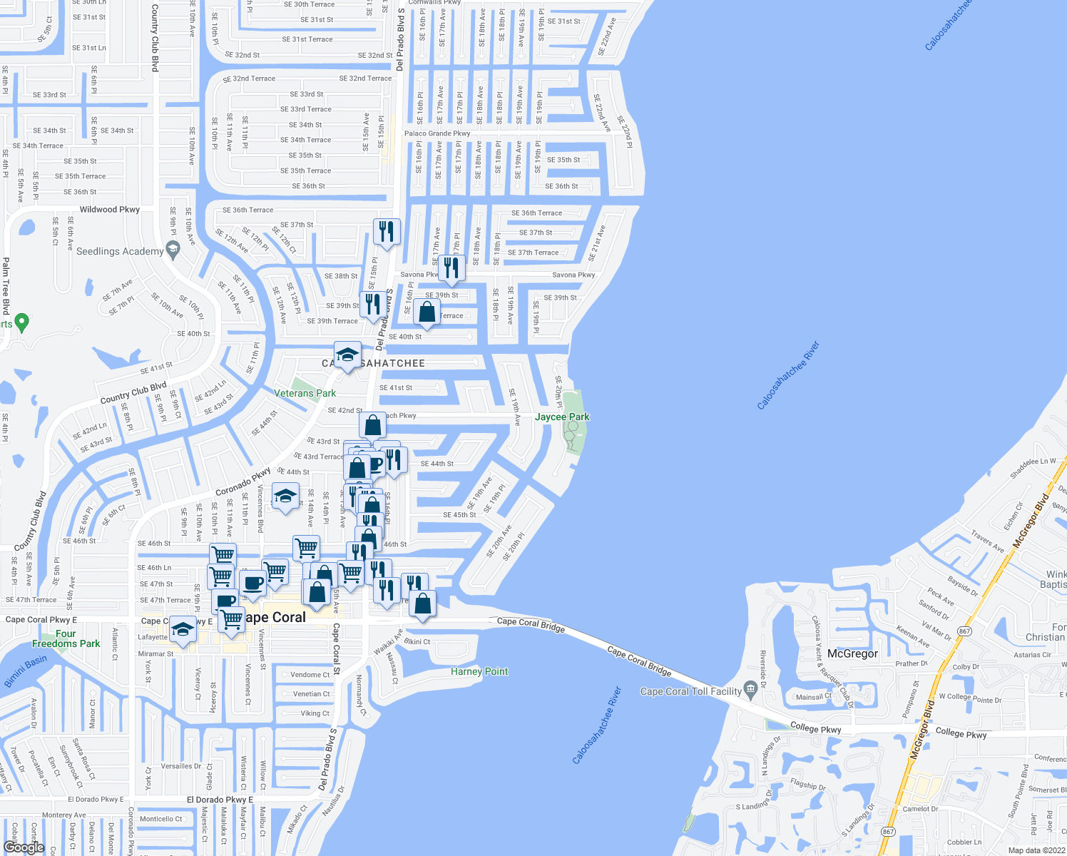 map of restaurants, bars, coffee shops, grocery stores, and more near 4211 Southeast 19th Place in Cape Coral