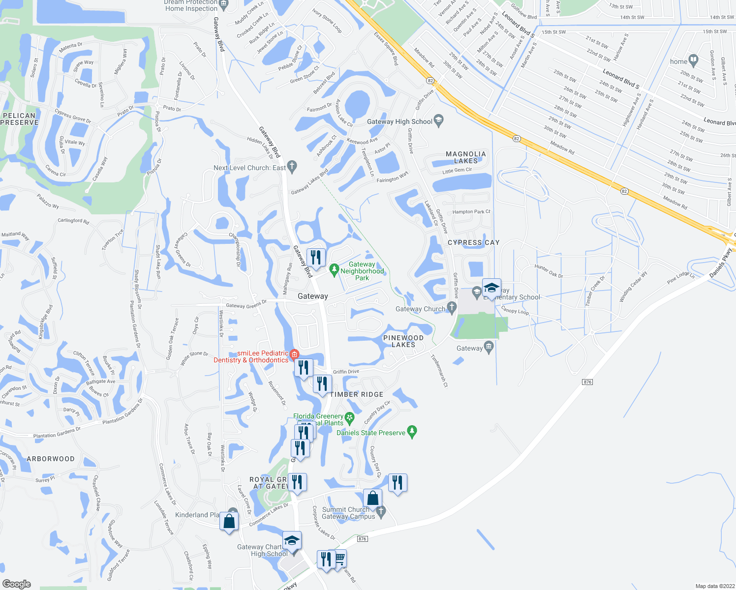 map of restaurants, bars, coffee shops, grocery stores, and more near 11412 Waterford Village Drive in Fort Myers