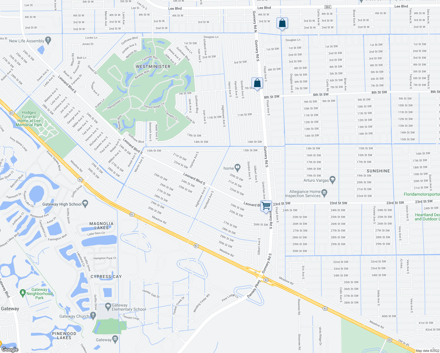 map of restaurants, bars, coffee shops, grocery stores, and more near 21st Street Southwest in Lehigh Acres