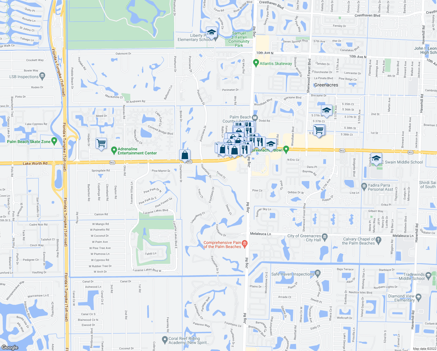 map of restaurants, bars, coffee shops, grocery stores, and more near 4118 Tivoli Court in Lake Worth
