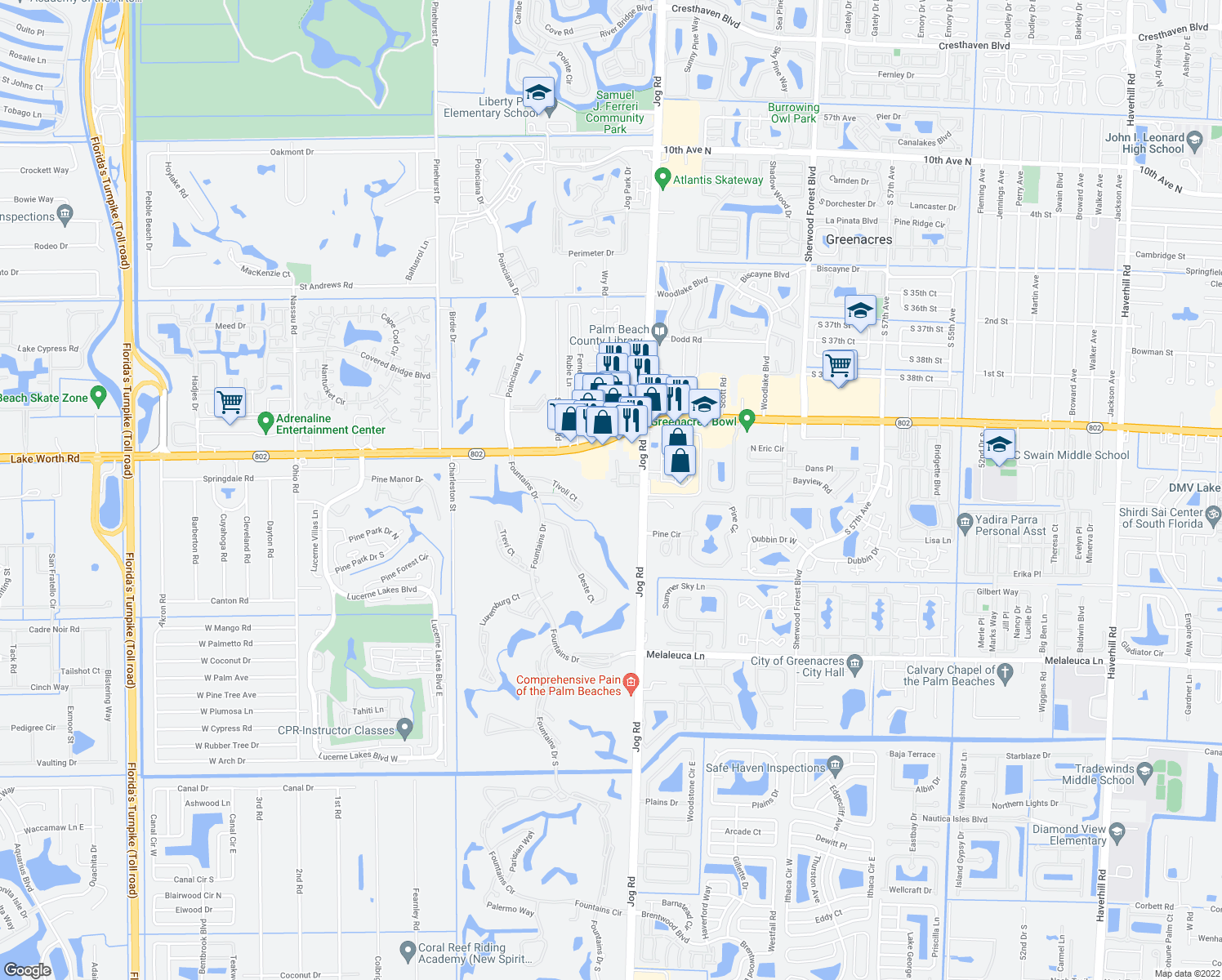 map of restaurants, bars, coffee shops, grocery stores, and more near 4205 Turnberry Circle in Lake Worth