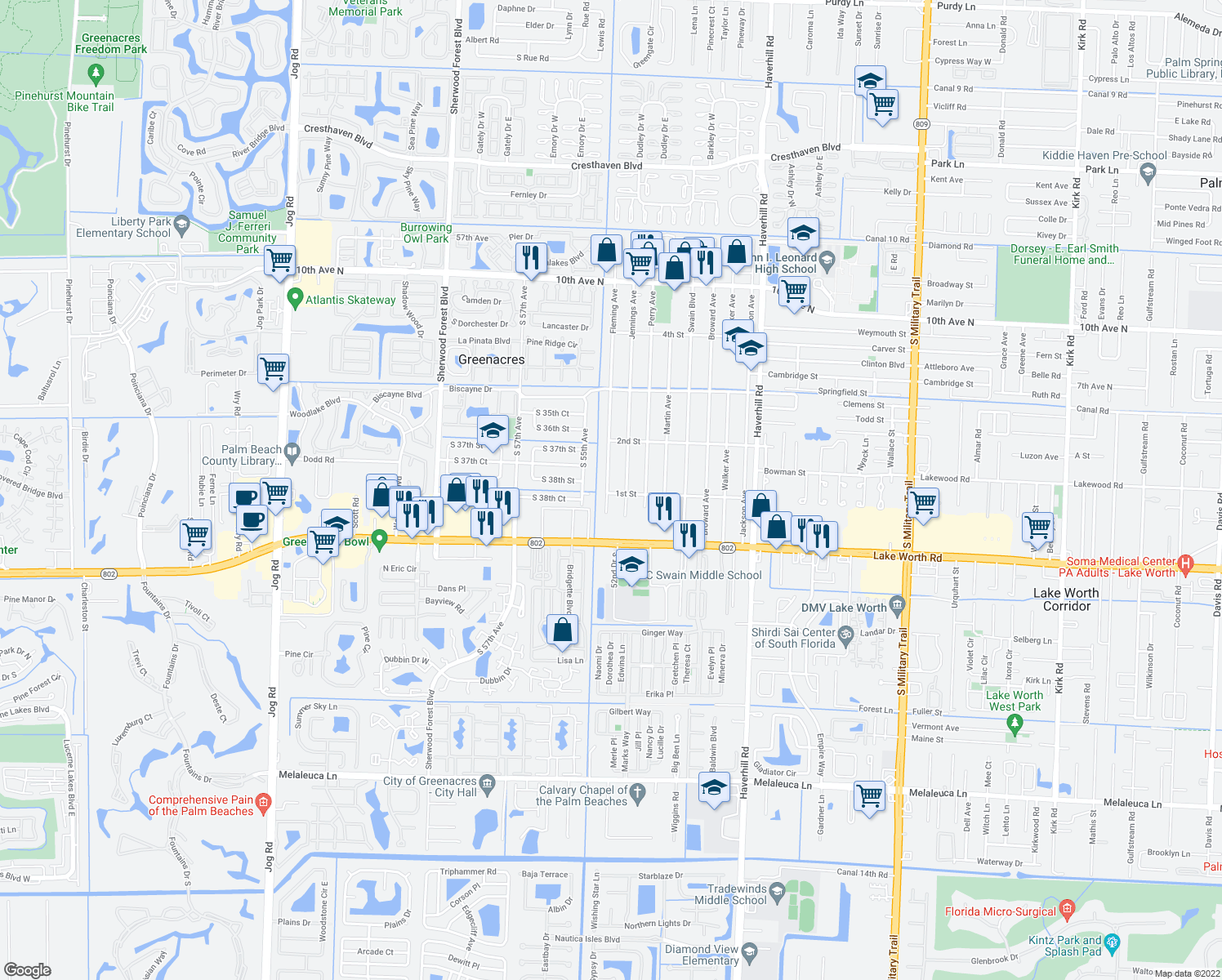 map of restaurants, bars, coffee shops, grocery stores, and more near 200 Fleming Avenue in Greenacres