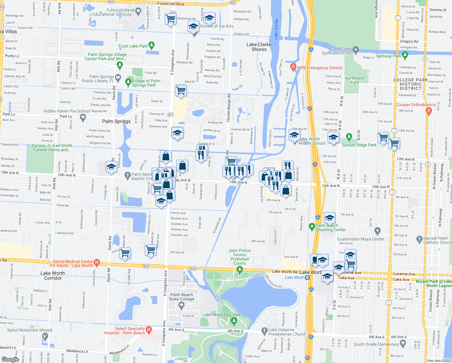 map of restaurants, bars, coffee shops, grocery stores, and more near 3141 Florida Mango Road in Lake Worth