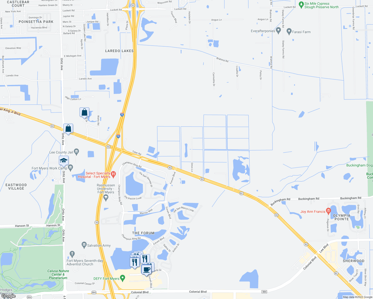 map of restaurants, bars, coffee shops, grocery stores, and more near 7500 Omni Lane in Fort Myers