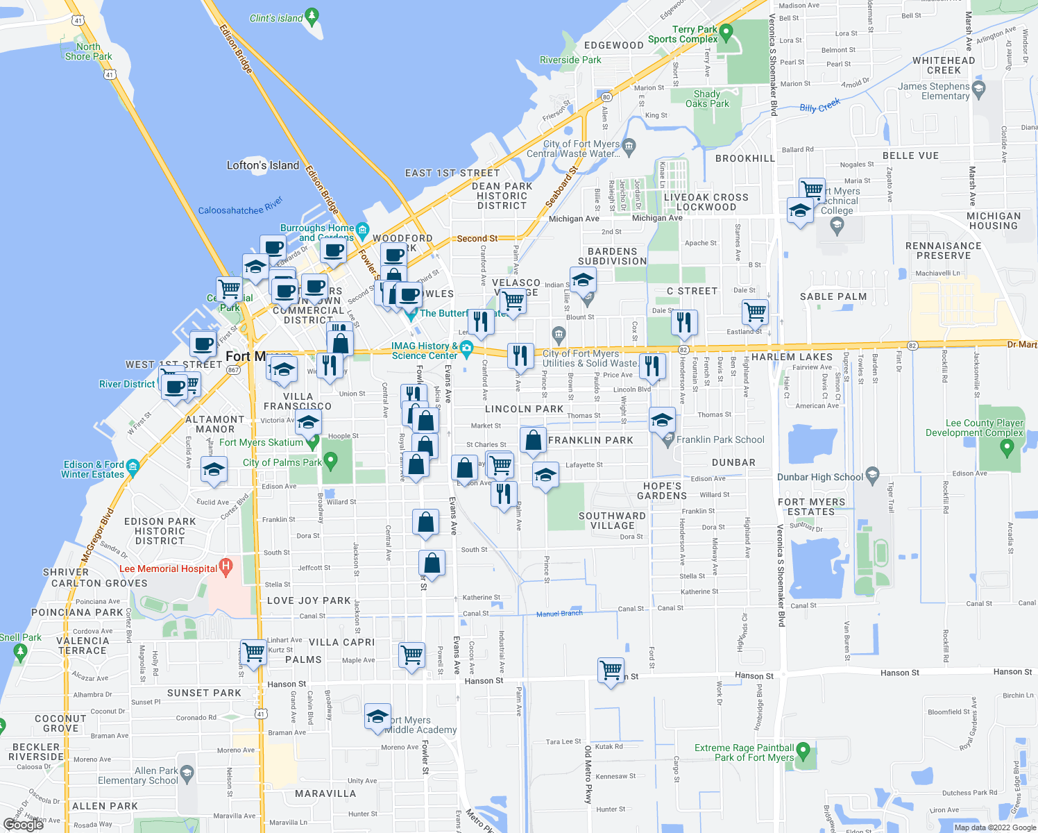 map of restaurants, bars, coffee shops, grocery stores, and more near Palm Ave & Thomas St in Fort Myers