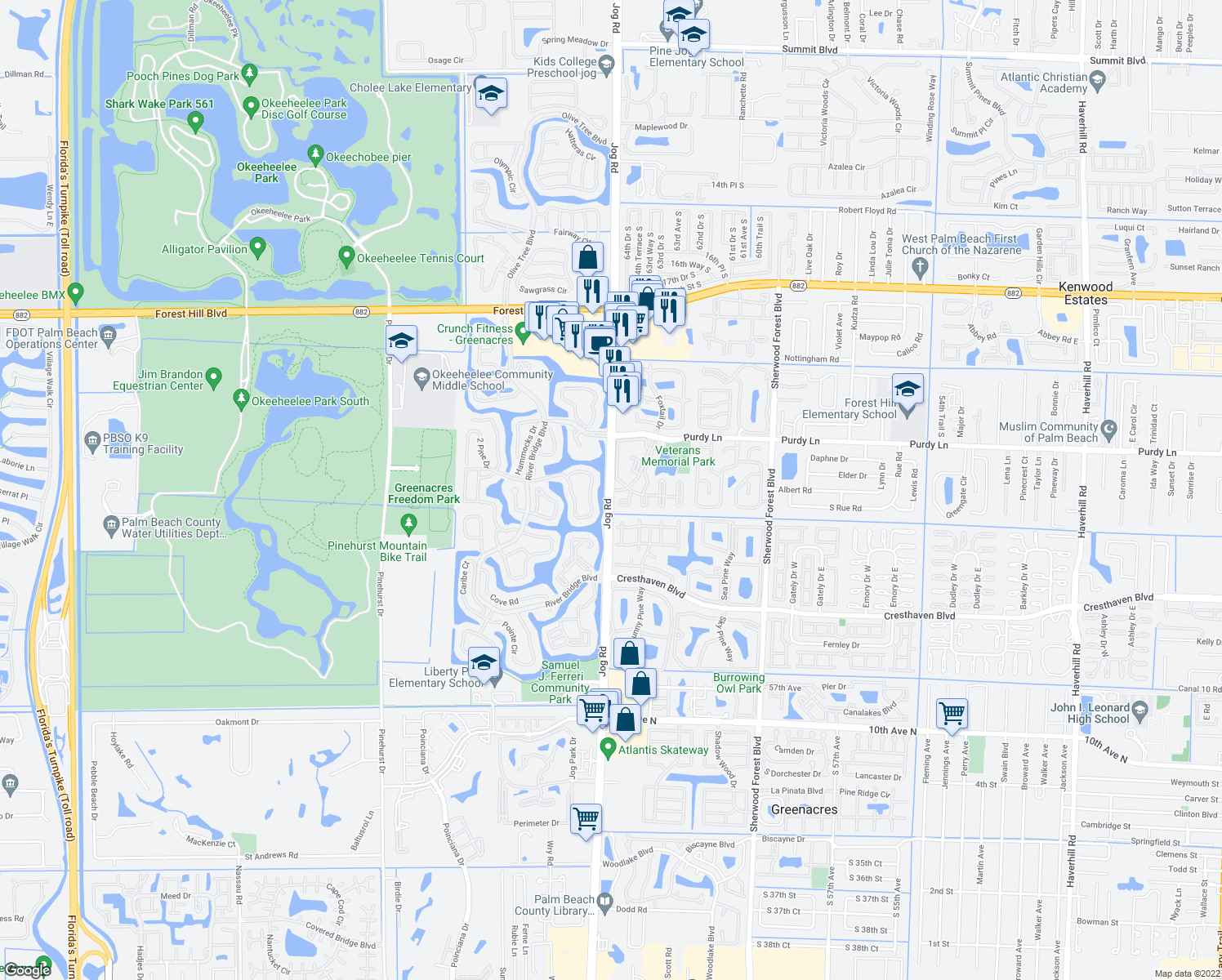 map of restaurants, bars, coffee shops, grocery stores, and more near 209 Foxtail Drive in Greenacres