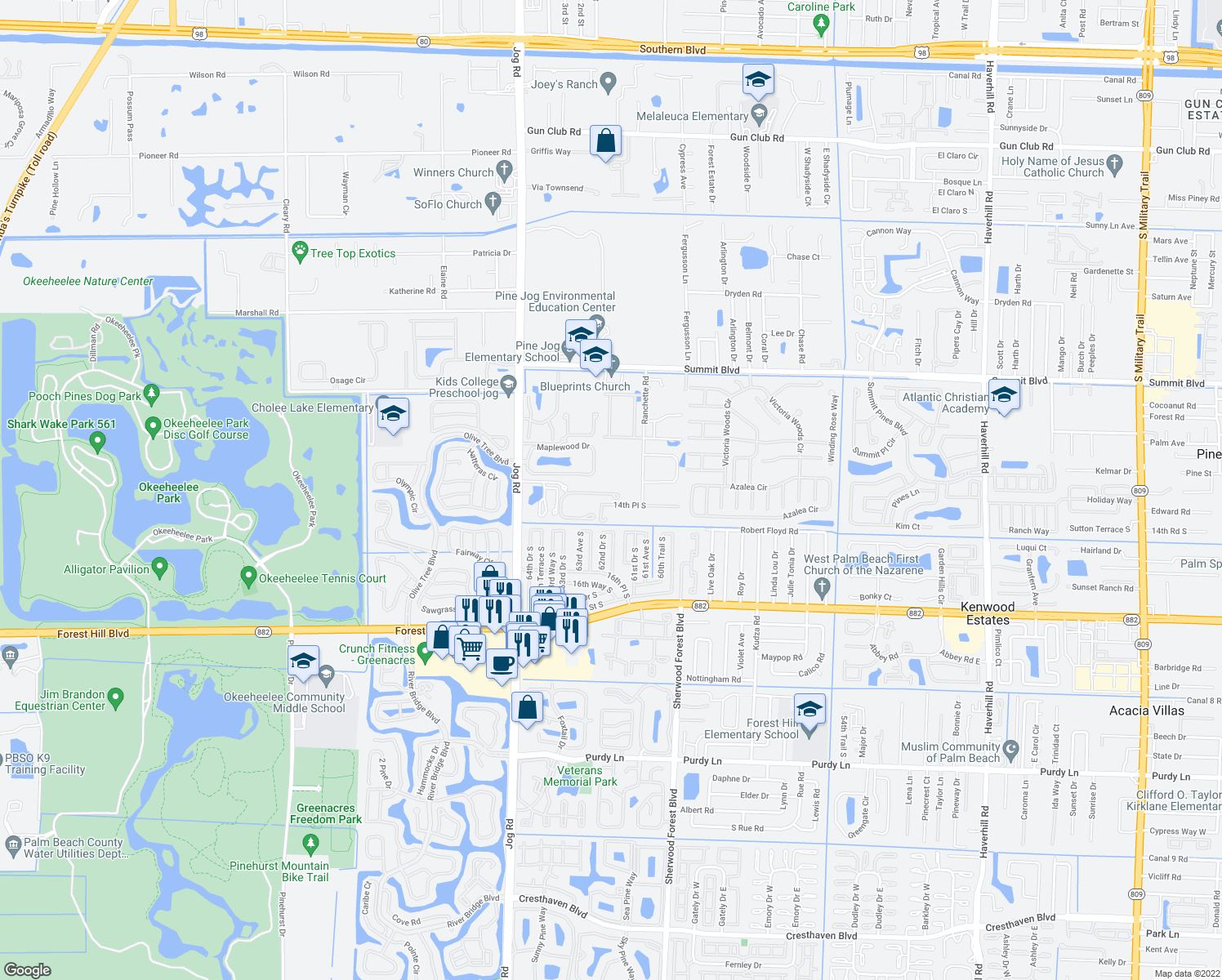 map of restaurants, bars, coffee shops, grocery stores, and more near 1063 Pinewood Lake Court in Greenacres