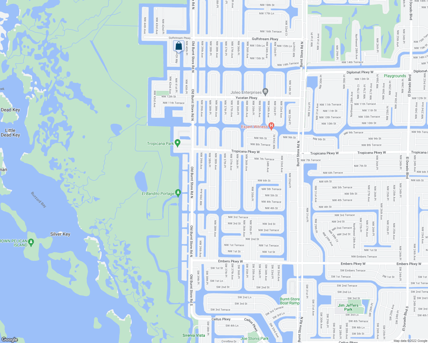 map of restaurants, bars, coffee shops, grocery stores, and more near 618 Northwest 38th Avenue in Cape Coral