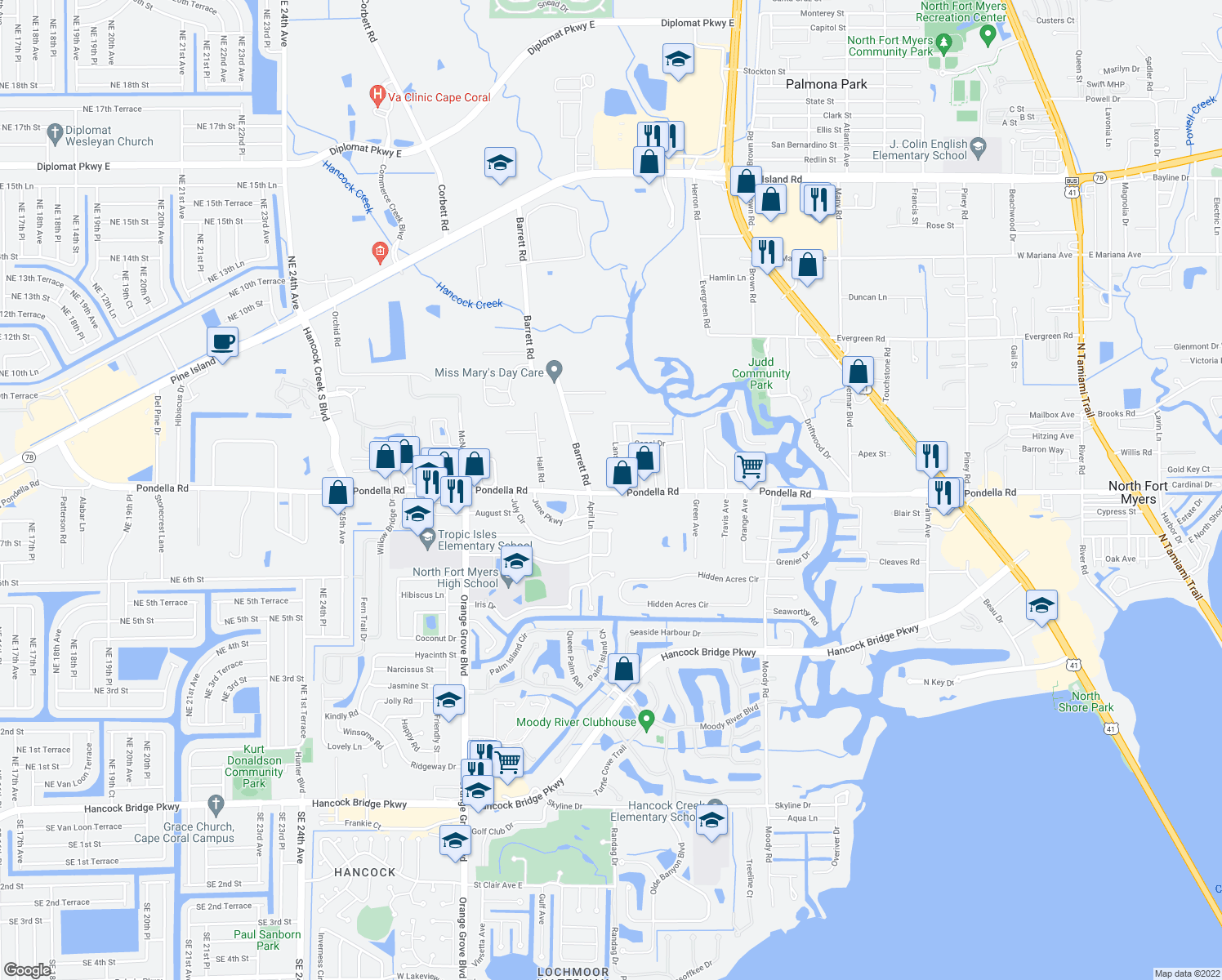 map of restaurants, bars, coffee shops, grocery stores, and more near 750 Pondella Road in North Fort Myers