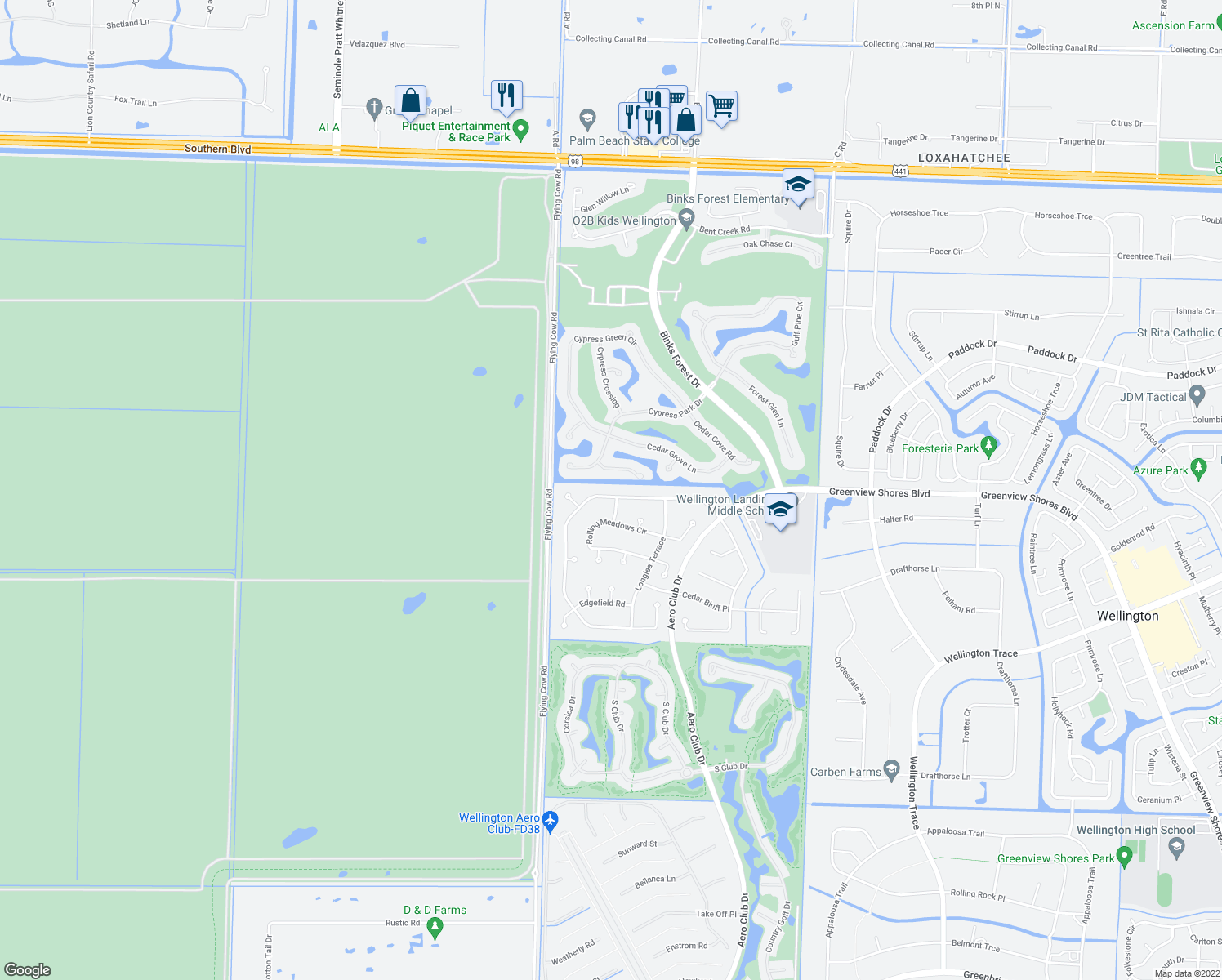 map of restaurants, bars, coffee shops, grocery stores, and more near 15600 Meadow Wood Dr in Wellington