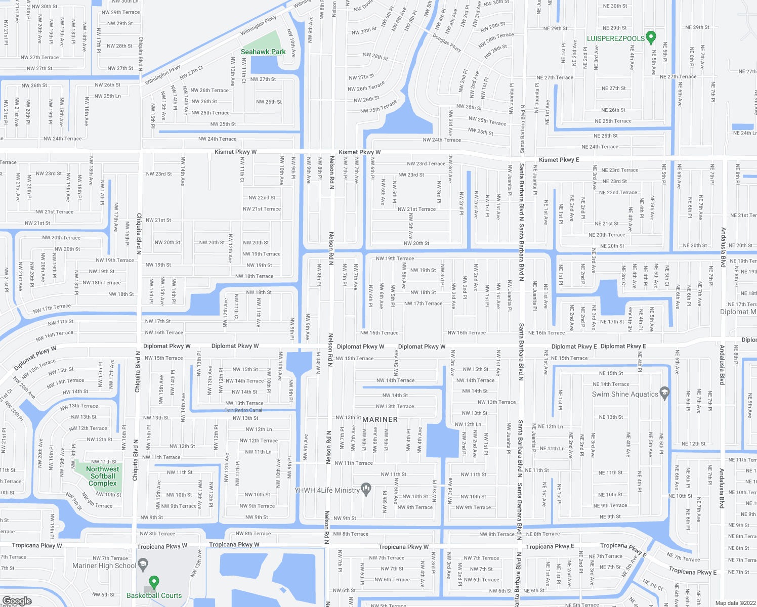 map of restaurants, bars, coffee shops, grocery stores, and more near 1716 Northwest 6th Avenue in Cape Coral