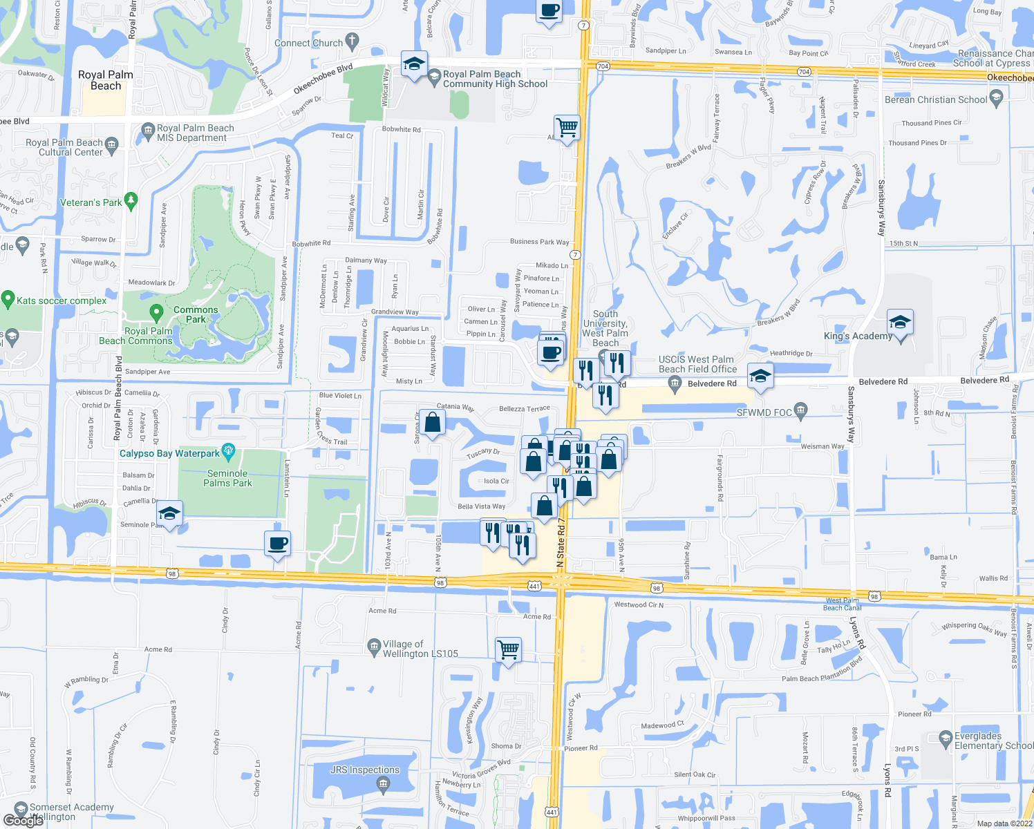 map of restaurants, bars, coffee shops, grocery stores, and more near 126 Bellezza Terrace in Royal Palm Beach