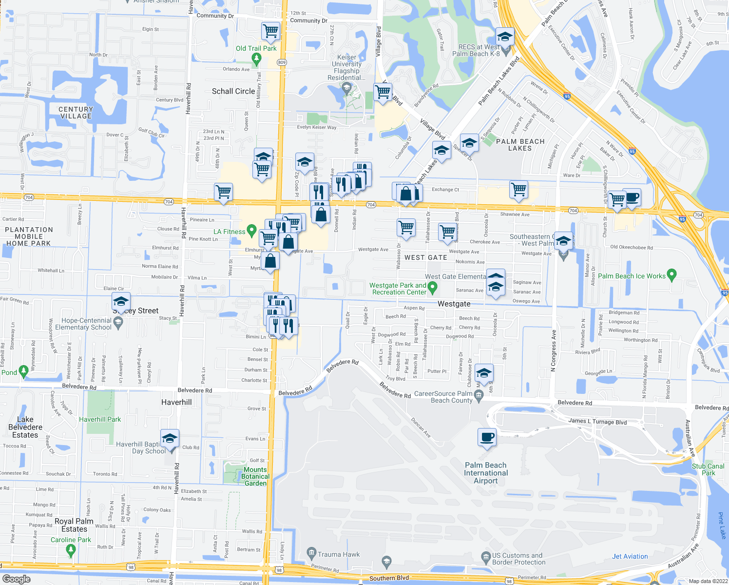 map of restaurants, bars, coffee shops, grocery stores, and more near 3980 Saranac Avenue in West Palm Beach