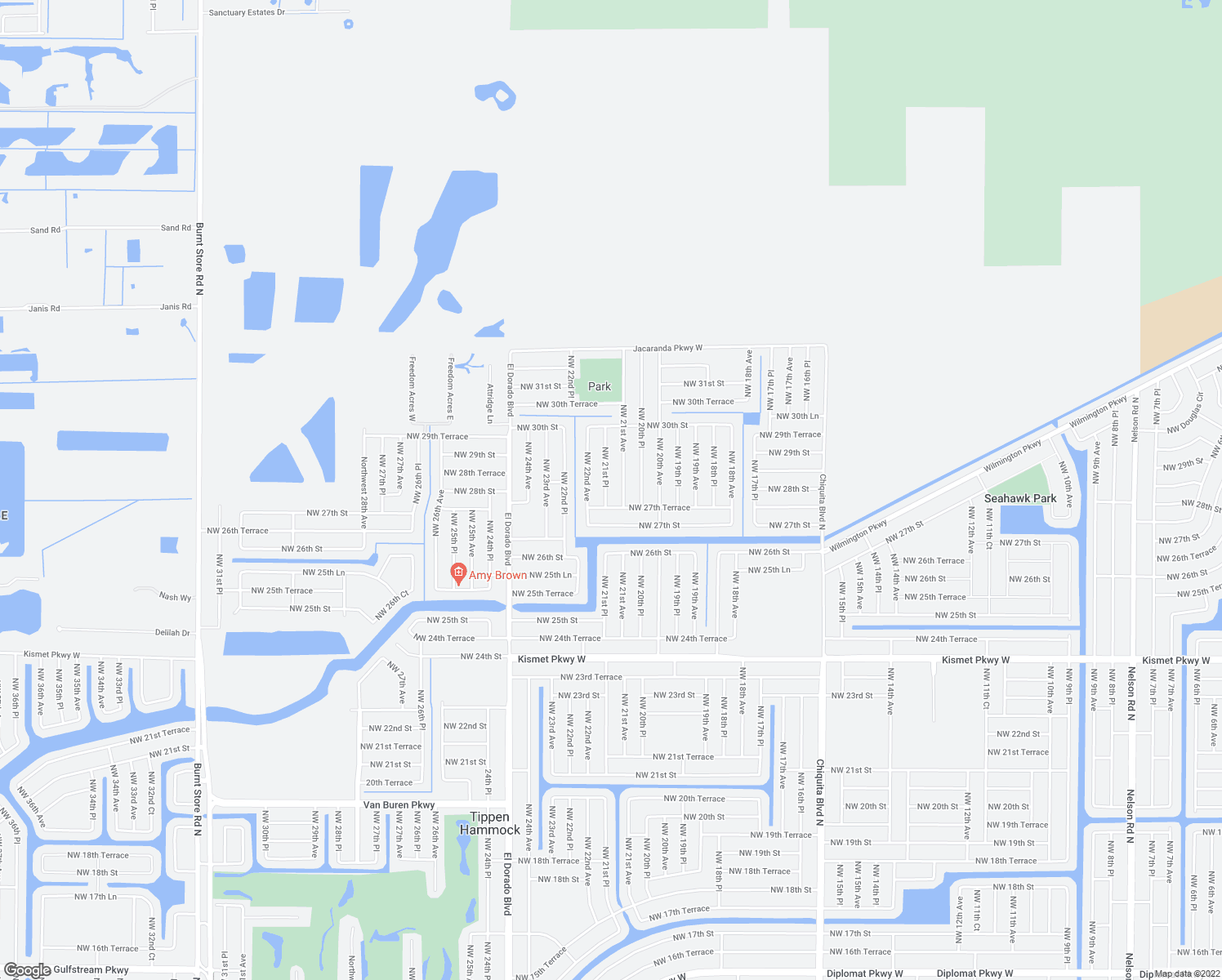 map of restaurants, bars, coffee shops, grocery stores, and more near 2809 Northwest 21st Place in Cape Coral