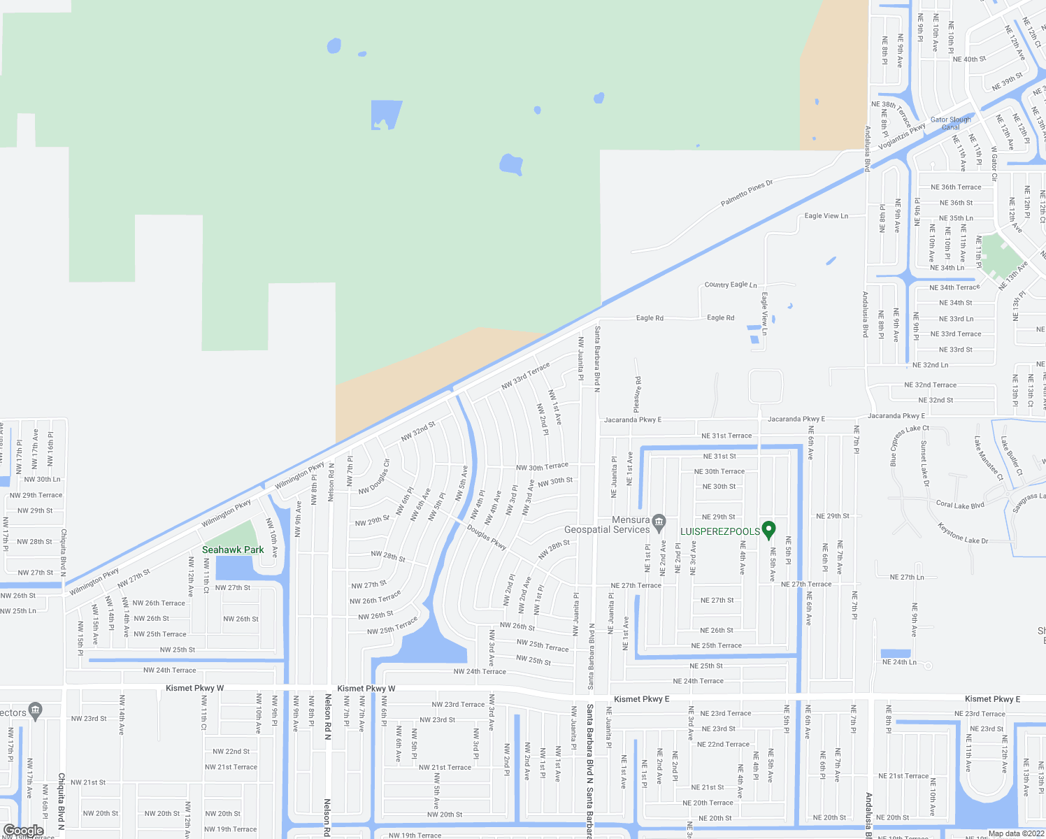 map of restaurants, bars, coffee shops, grocery stores, and more near 3056 NW 3rd Ave in Cape Coral
