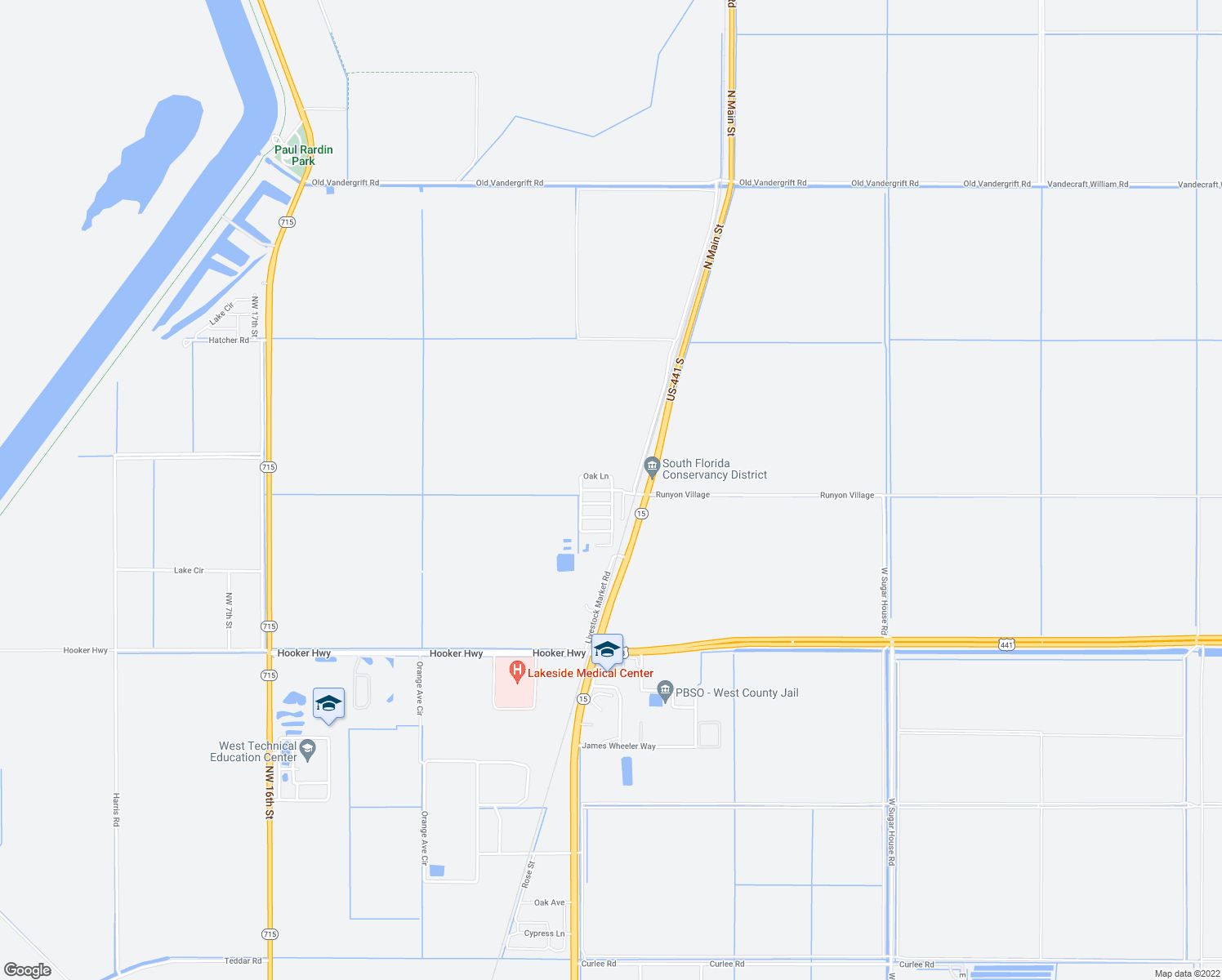 map of restaurants, bars, coffee shops, grocery stores, and more near 103 Runyon Village in Belle Glade