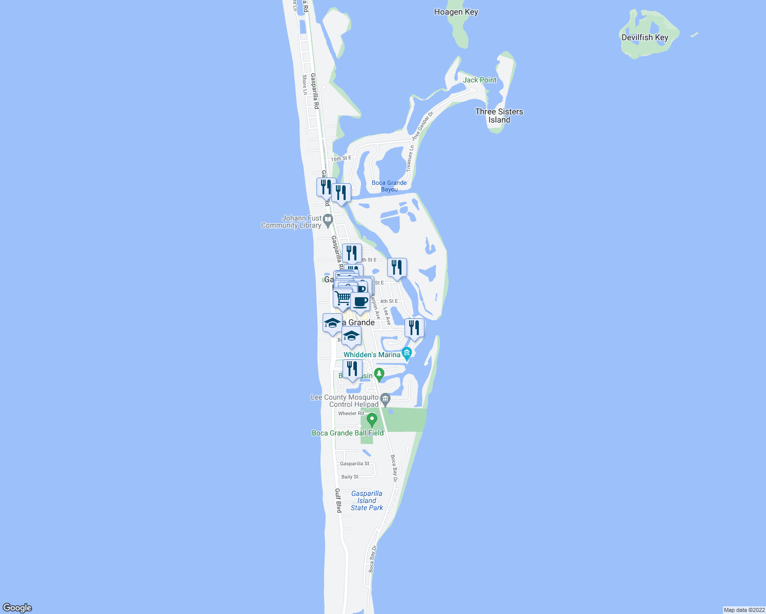 map of restaurants, bars, coffee shops, grocery stores, and more near 371 Lee Avenue in Boca Grande
