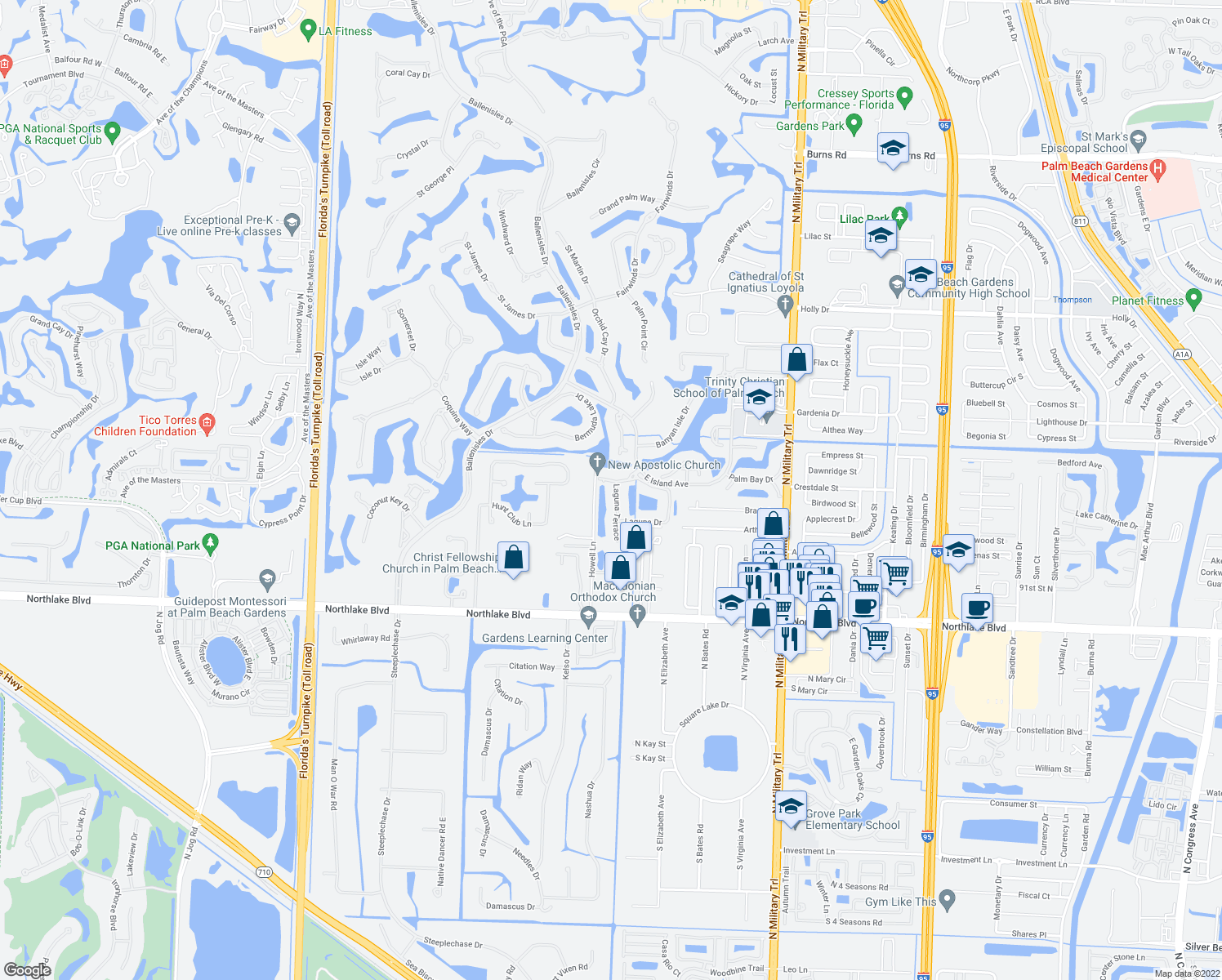 map of restaurants, bars, coffee shops, grocery stores, and more near 24 Laguna Terrace in Palm Beach Gardens