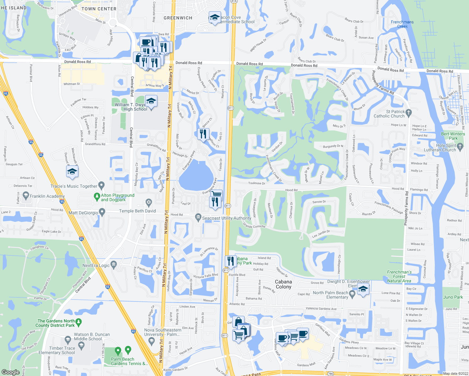 map of restaurants, bars, coffee shops, grocery stores, and more near 333 Chambord Terrace in Palm Beach Gardens