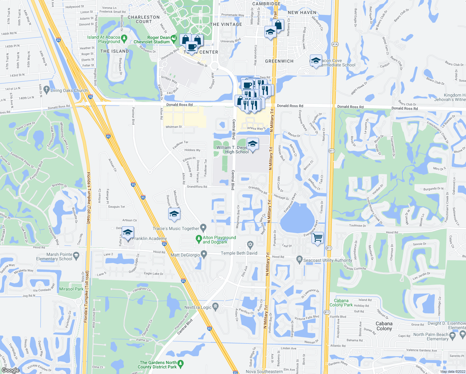 map of restaurants, bars, coffee shops, grocery stores, and more near Central Blvd & Grandiflora Rd in Palm Beach Gardens