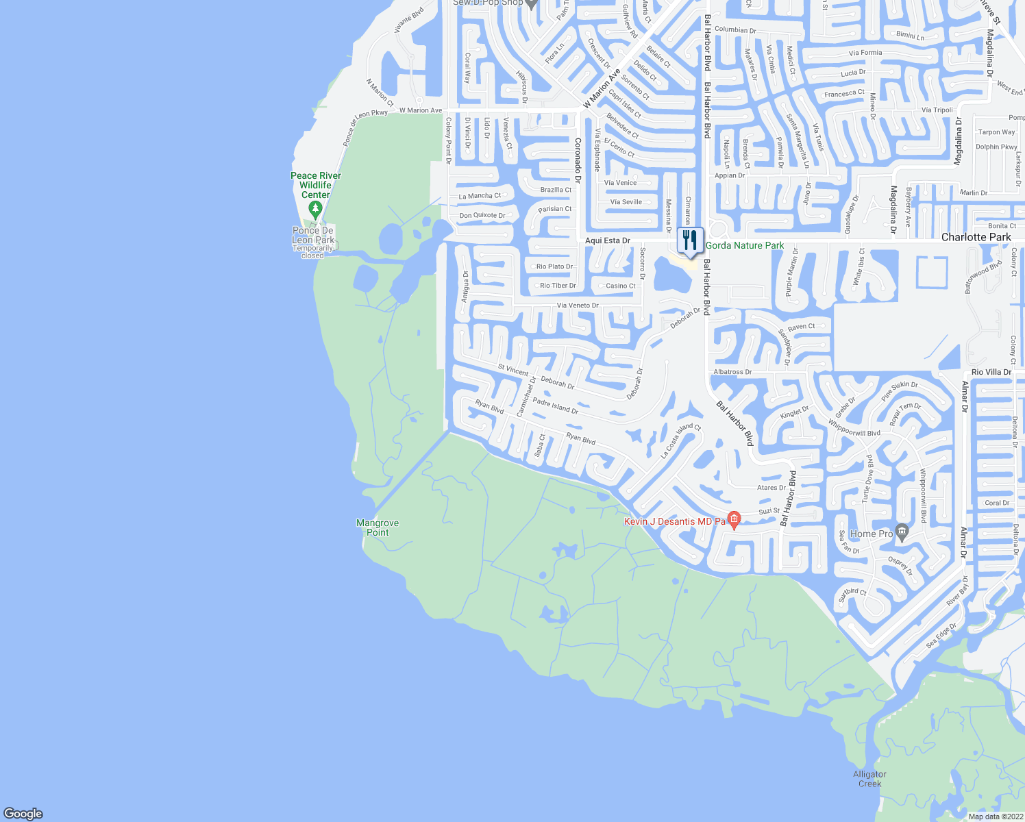 map of restaurants, bars, coffee shops, grocery stores, and more near 2650 Ryan Boulevard in Punta Gorda