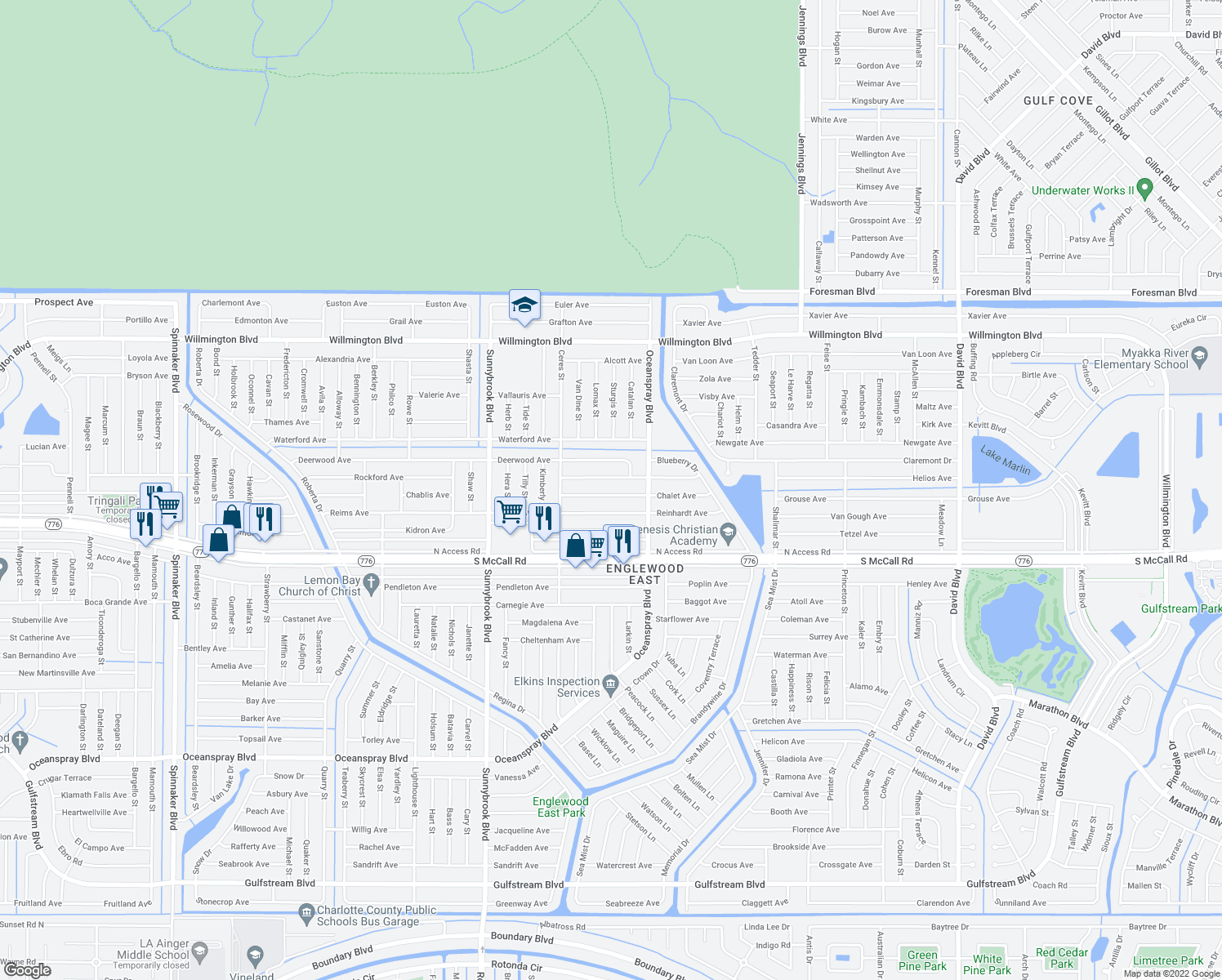 map of restaurants, bars, coffee shops, grocery stores, and more near 11208 Chalet Avenue in Englewood