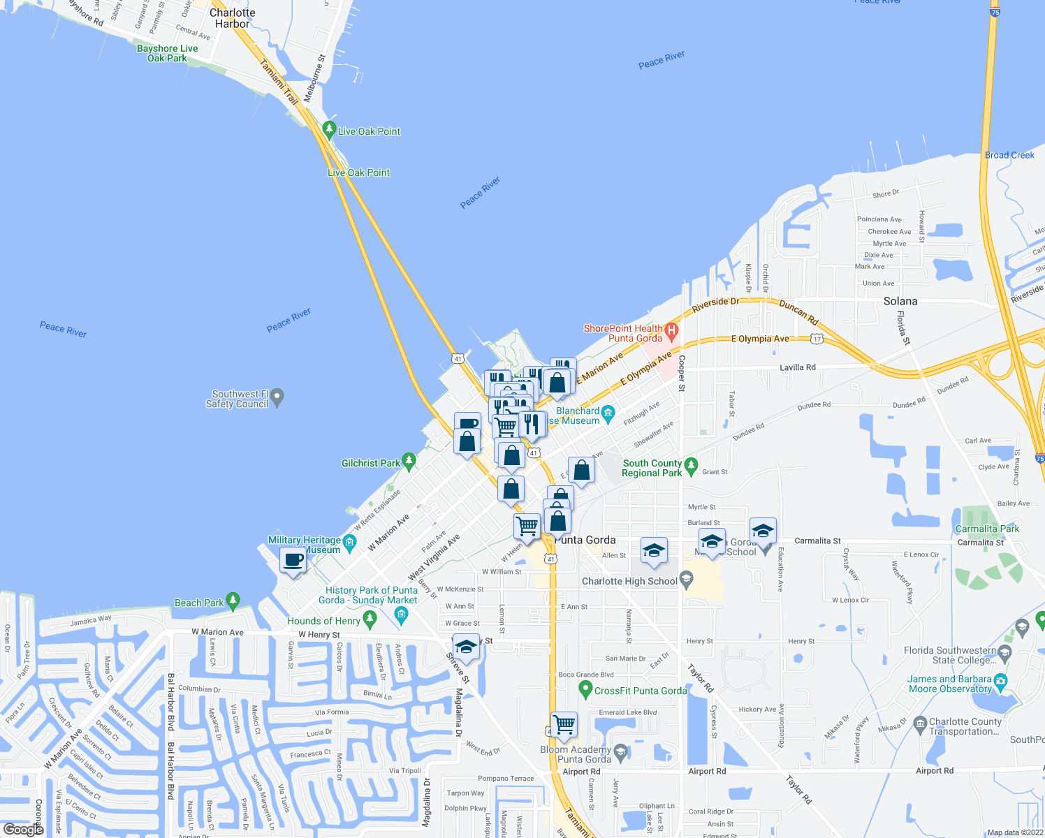 map of restaurants, bars, coffee shops, grocery stores, and more near 121 E Marion Ave in Punta Gorda