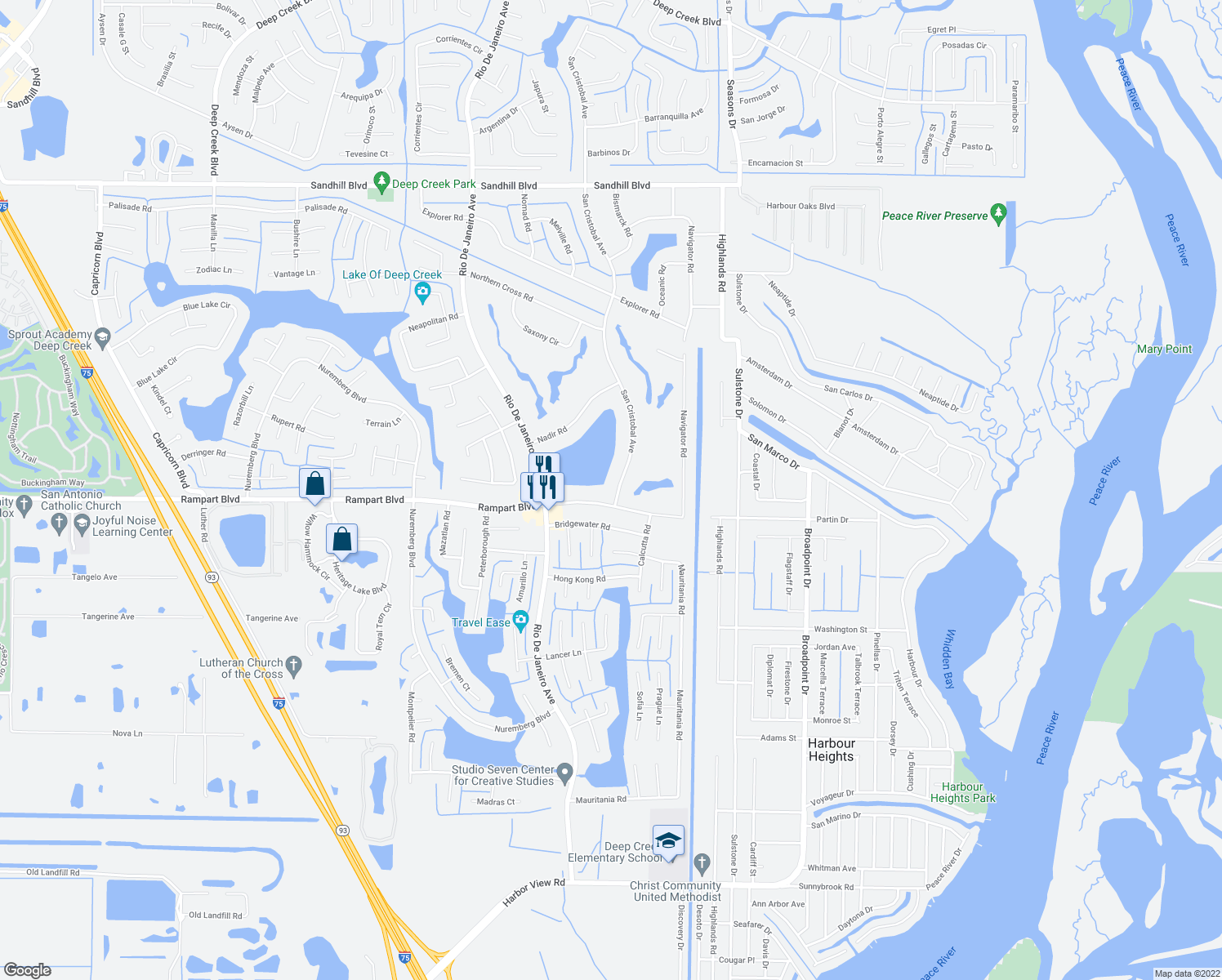 map of restaurants, bars, coffee shops, grocery stores, and more near 26346 Rampart Boulevard in Punta Gorda