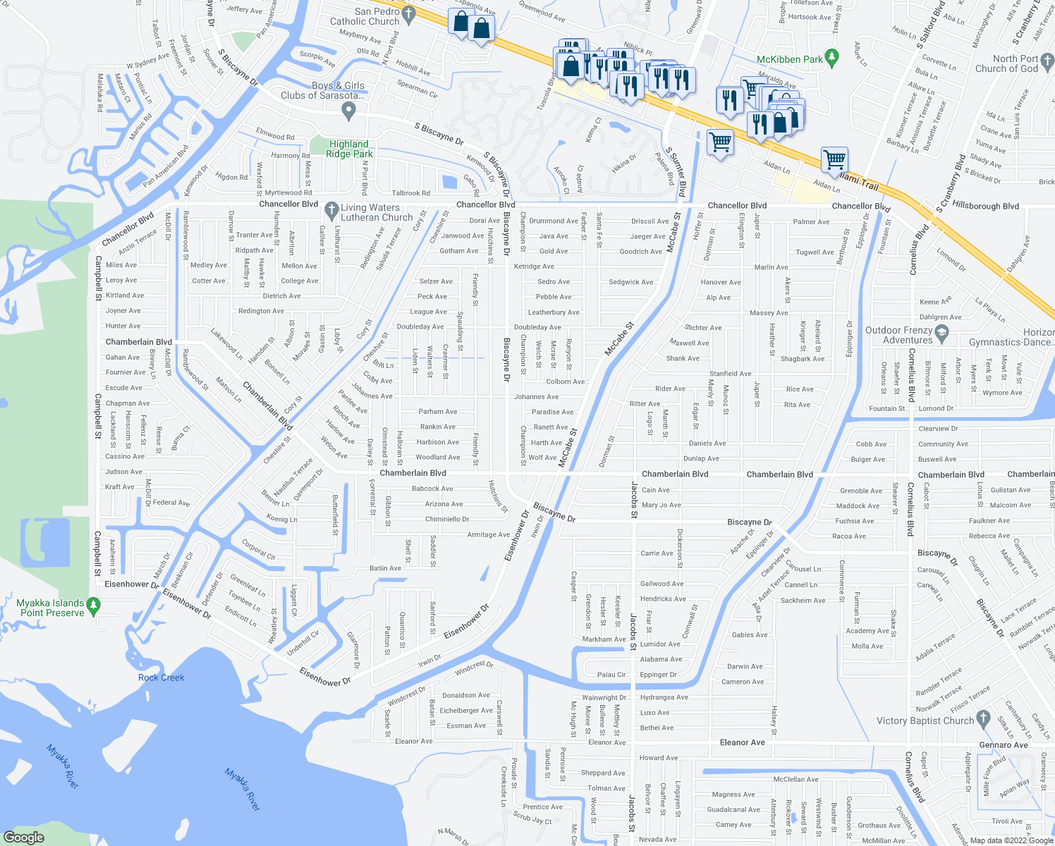 map of restaurants, bars, coffee shops, grocery stores, and more near 13304 Ranett Avenue in Port Charlotte