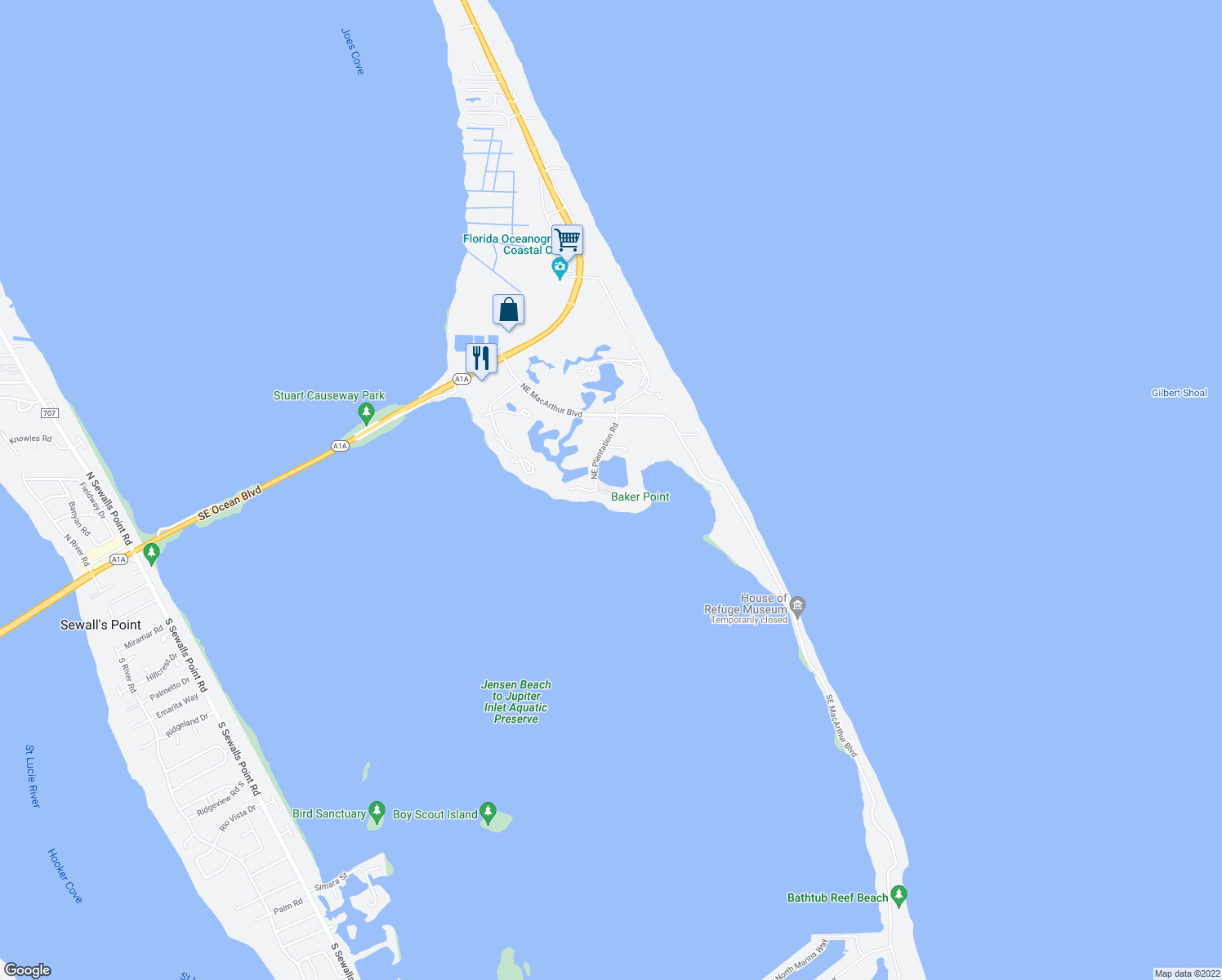 map of restaurants, bars, coffee shops, grocery stores, and more near 5775 Northeast Island Cove Way in Stuart