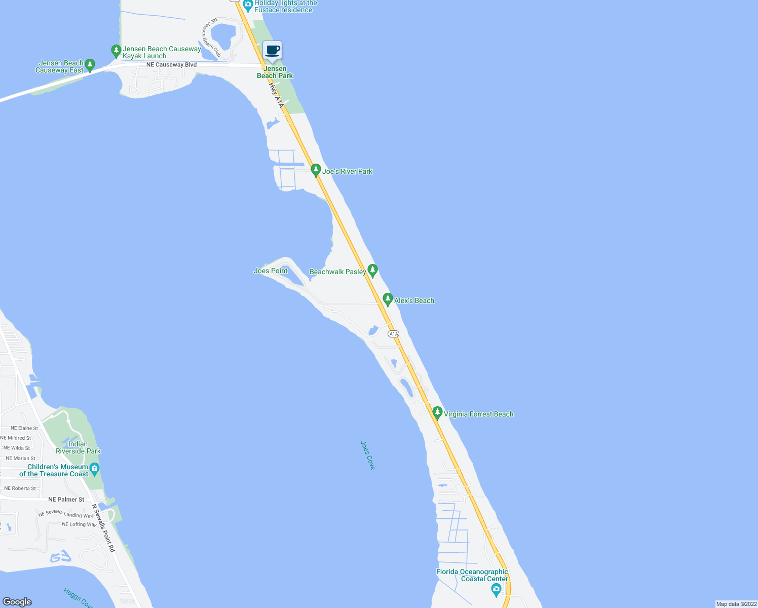 map of restaurants, bars, coffee shops, grocery stores, and more near 2700 Highway A1A in Stuart