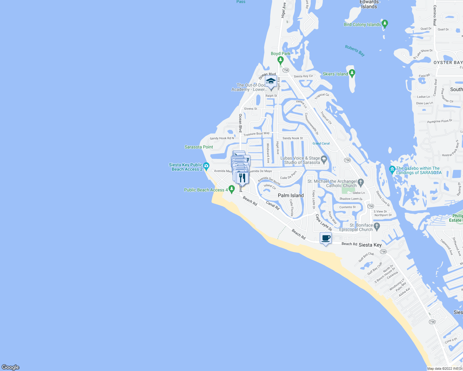 map of restaurants, bars, coffee shops, grocery stores, and more near 144 Avenida Veneccia in Siesta Key