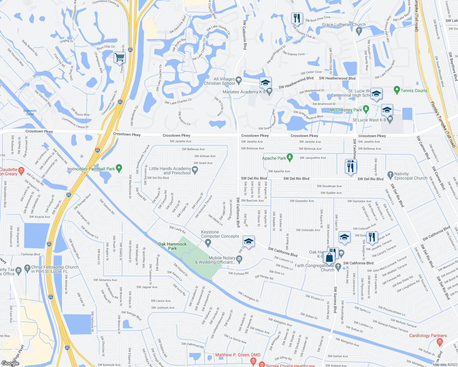 map of restaurants, bars, coffee shops, grocery stores, and more near 1733 Southwest Desert Avenue in Port St. Lucie