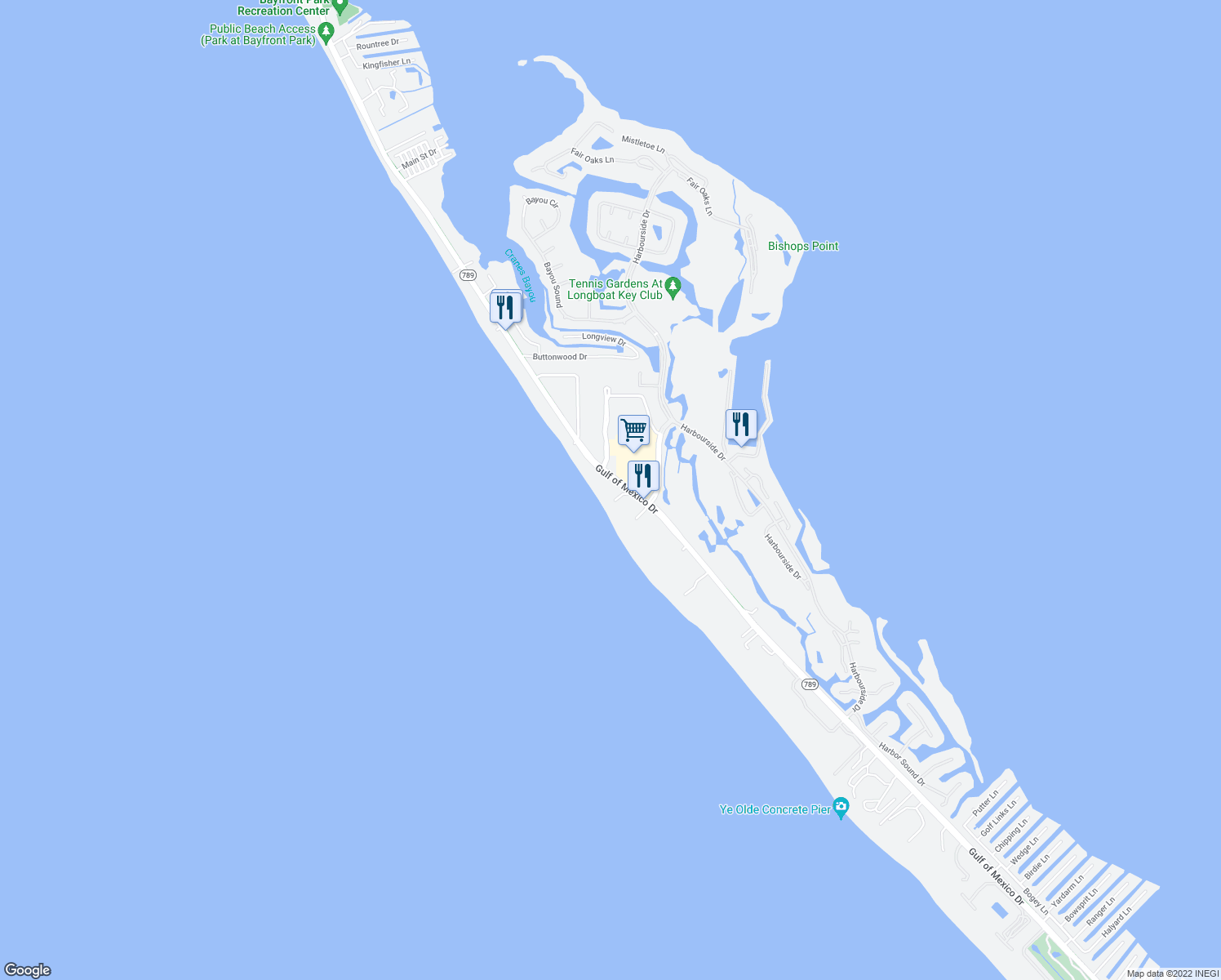 map of restaurants, bars, coffee shops, grocery stores, and more near 2675 Gulf of Mexico Drive in Longboat Key