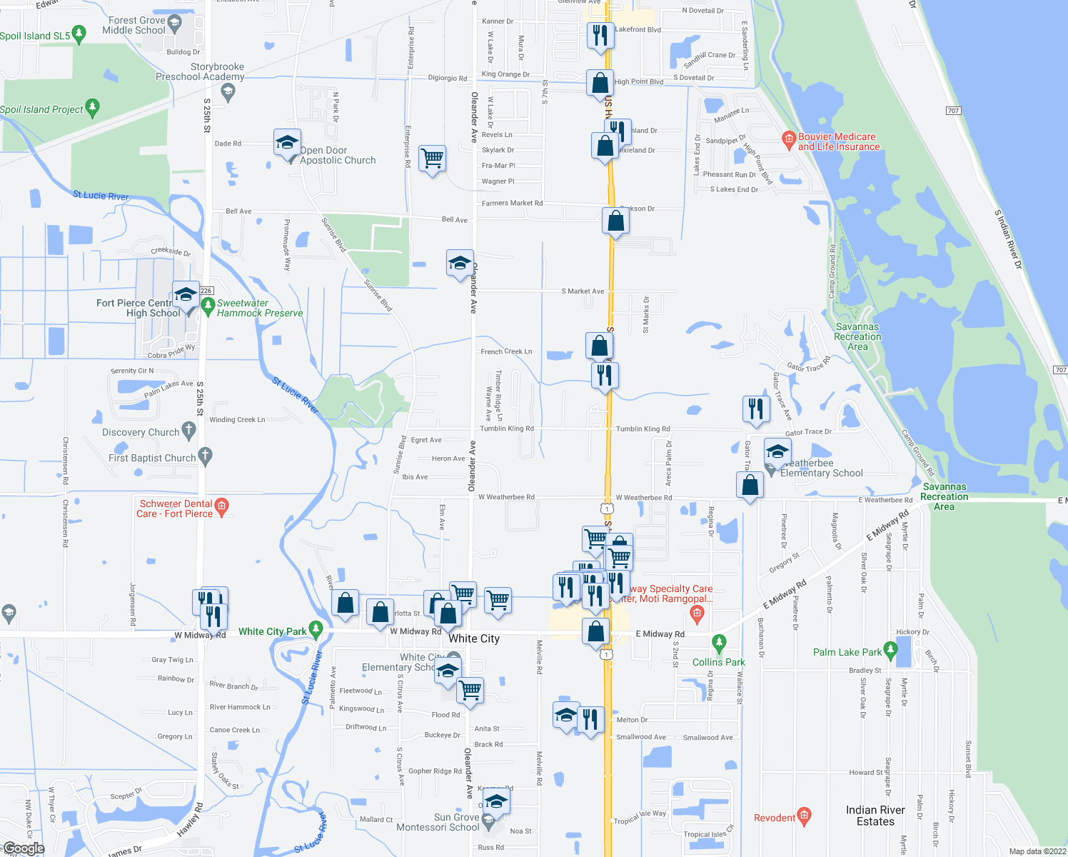 map of restaurants, bars, coffee shops, grocery stores, and more near 104 Carol Susan Lane in Fort Pierce