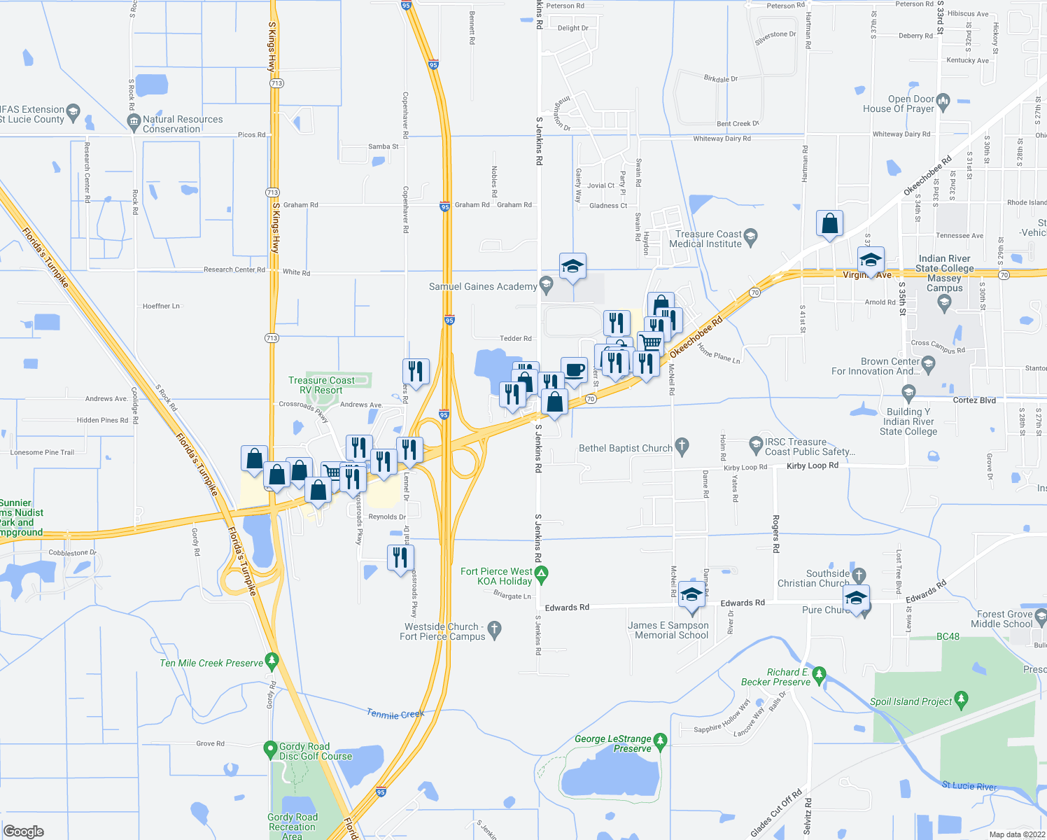 map of restaurants, bars, coffee shops, grocery stores, and more near 5643-5691 Okeechobee Road in Fort Pierce
