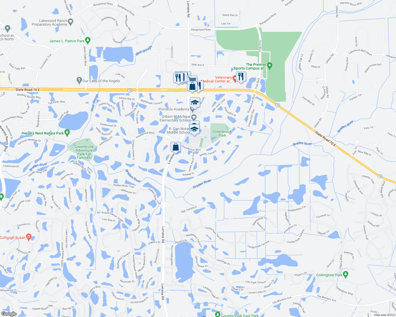 map of restaurants, bars, coffee shops, grocery stores, and more near 14729 Bowfin Terrace in Lakewood Ranch