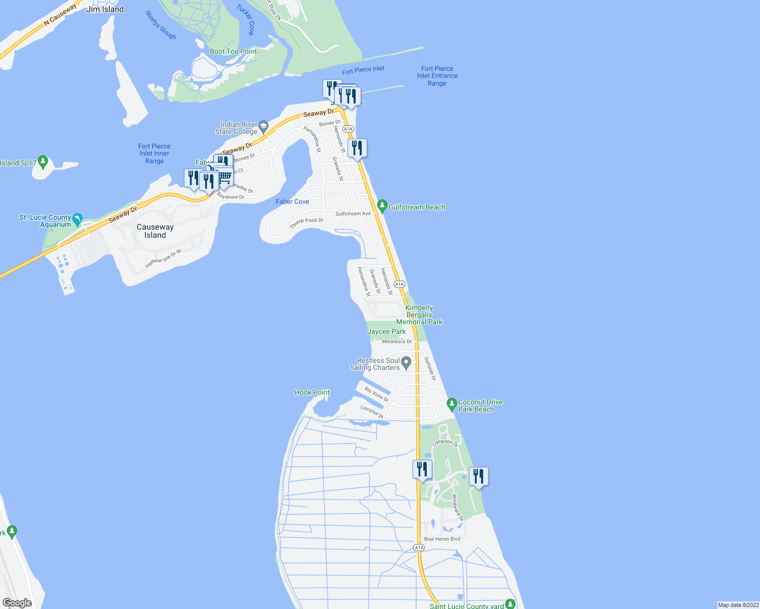 map of restaurants, bars, coffee shops, grocery stores, and more near 607 Mariner Bay Blvd in Fort Pierce